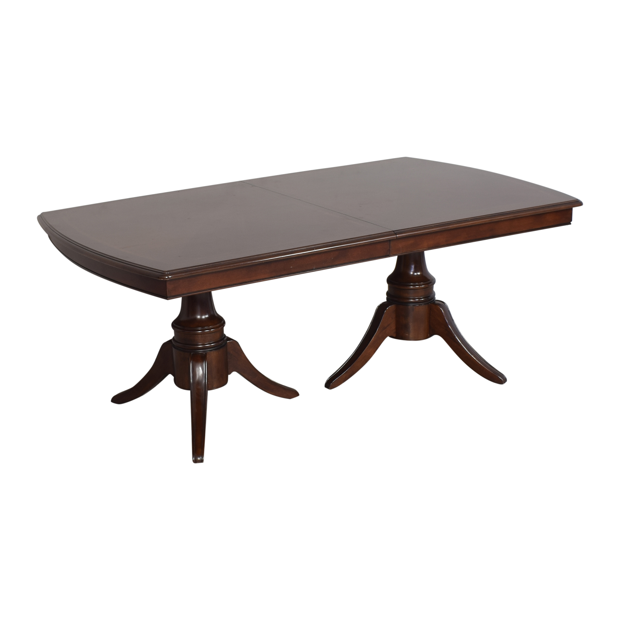 Raymour & Flanigan Raymour & Flanigan Double Pedestal Extendable Dining Table ct