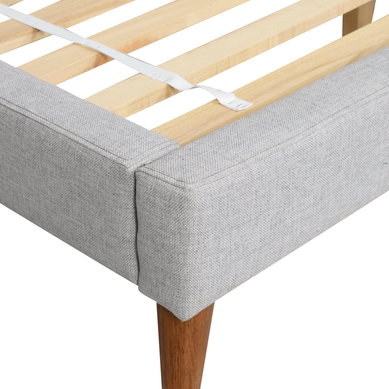 buy West Elm Grid-Tufted Upholstered Tapered Leg Queen Bed West Elm