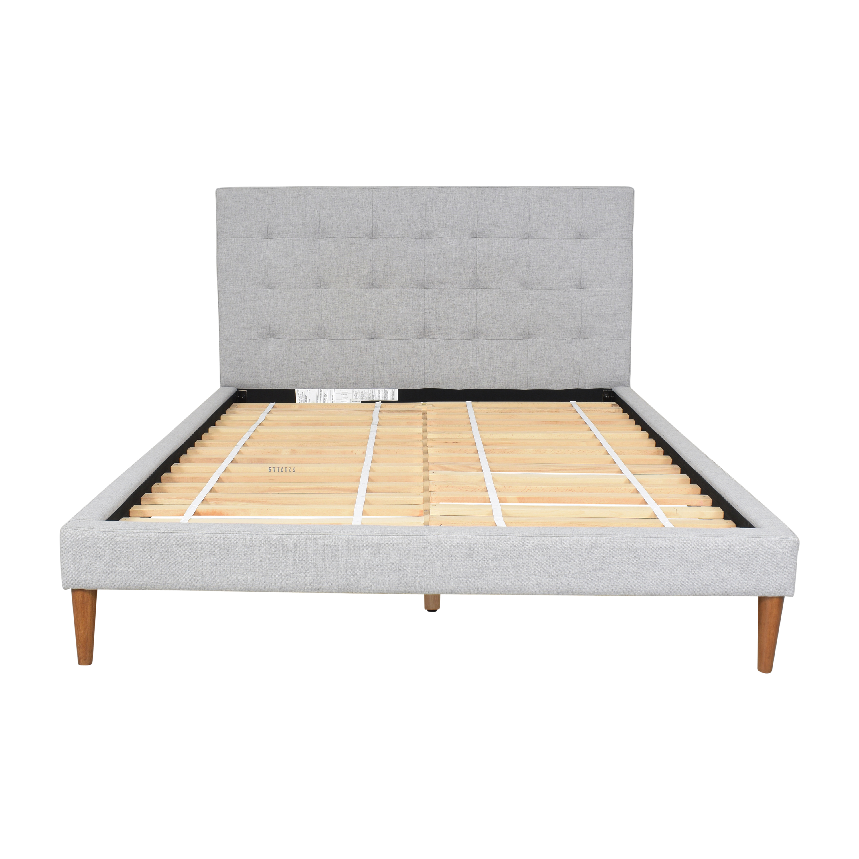 West Elm West Elm Grid-Tufted Upholstered Tapered Leg Queen Bed Bed Frames