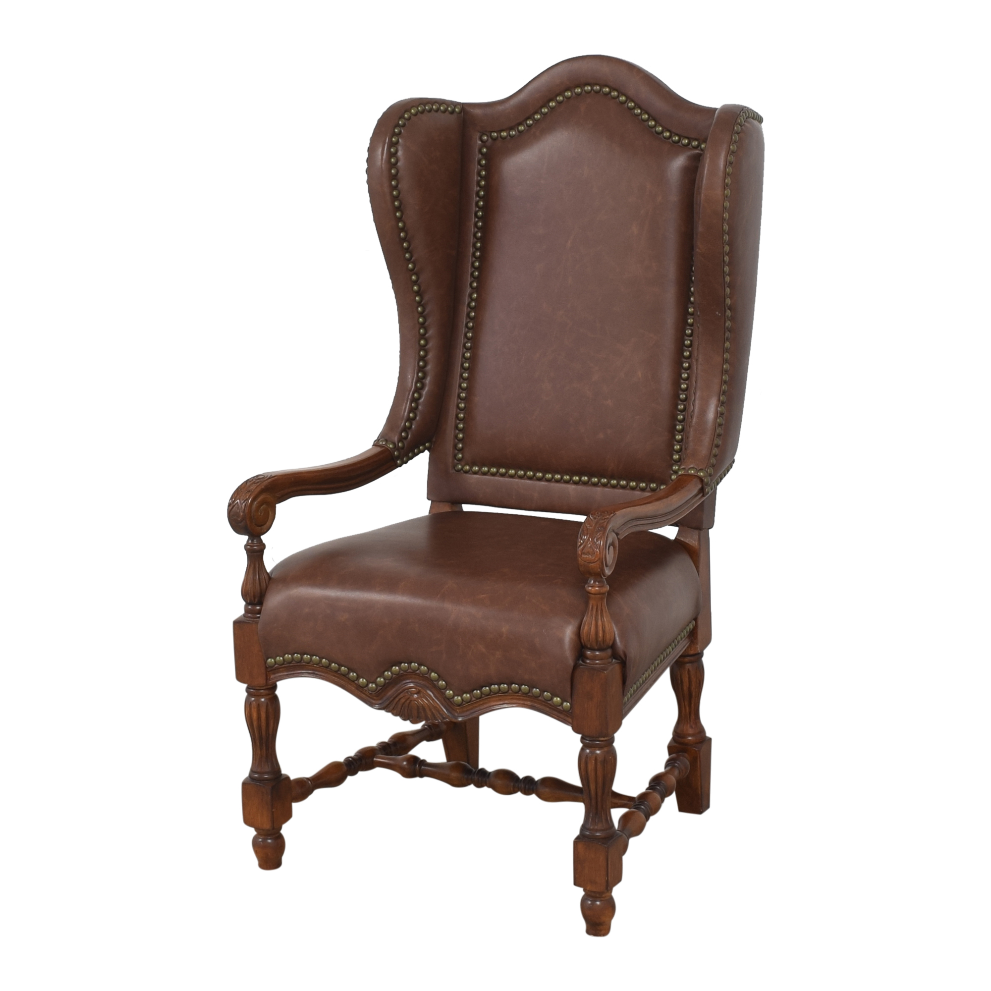 Wing Back Nailhead Dining Arm Chairs sale