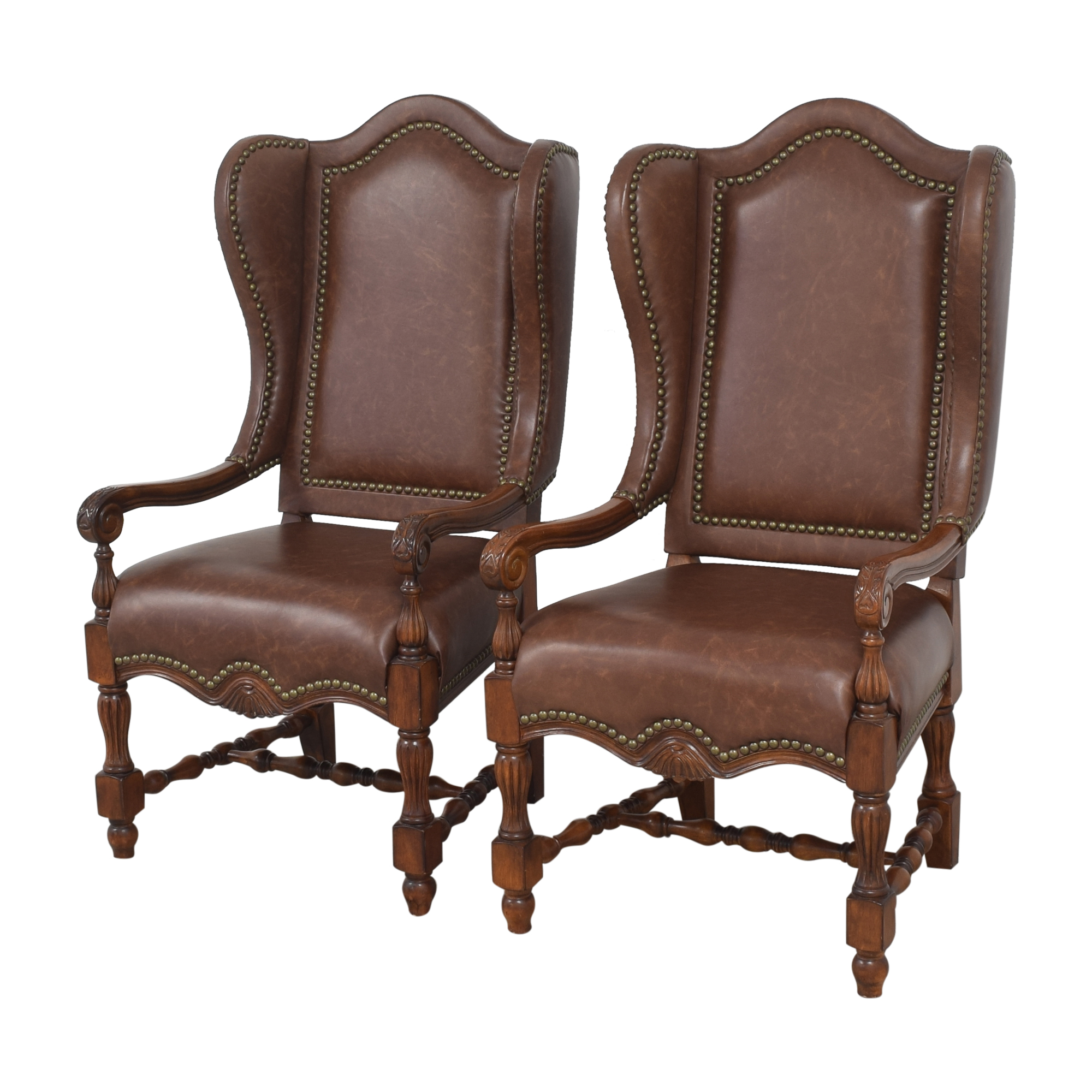 shop Wing Back Nailhead Dining Arm Chairs