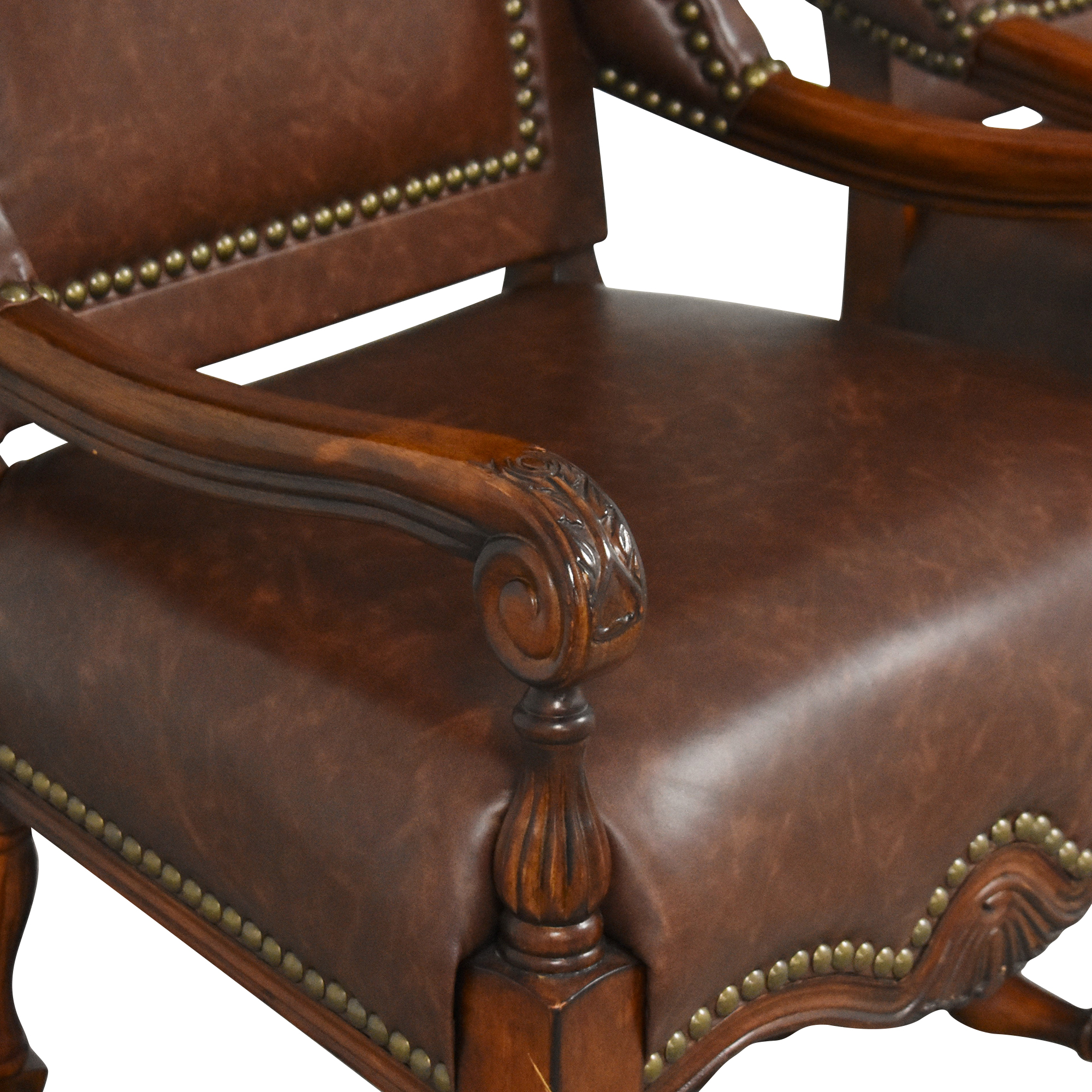 Wing Back Nailhead Dining Arm Chairs second hand