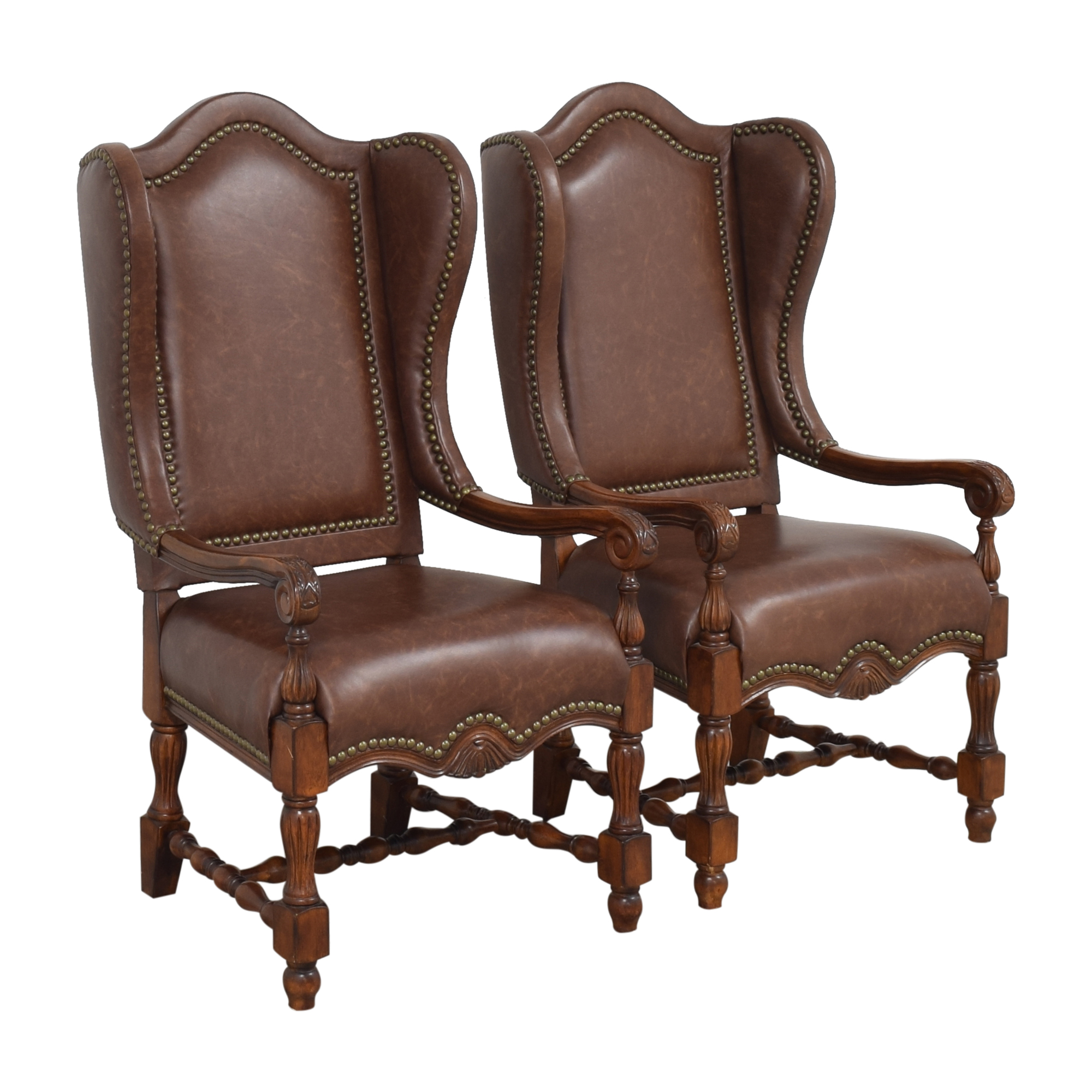 Wing Back Nailhead Dining Arm Chairs