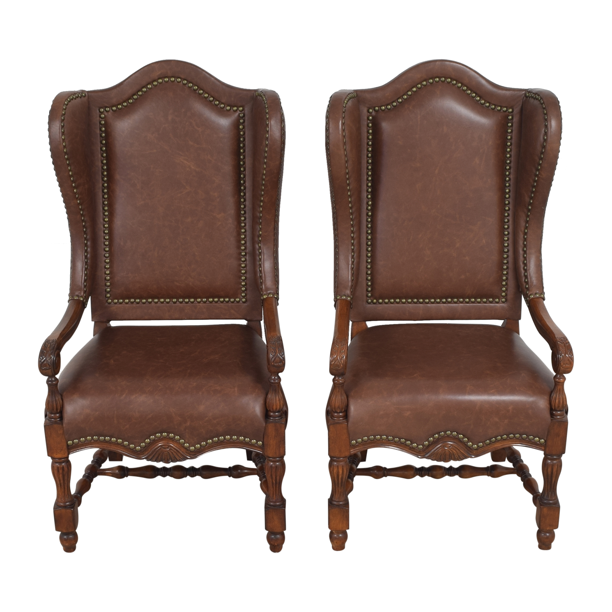 Wing Back Nailhead Dining Arm Chairs ct