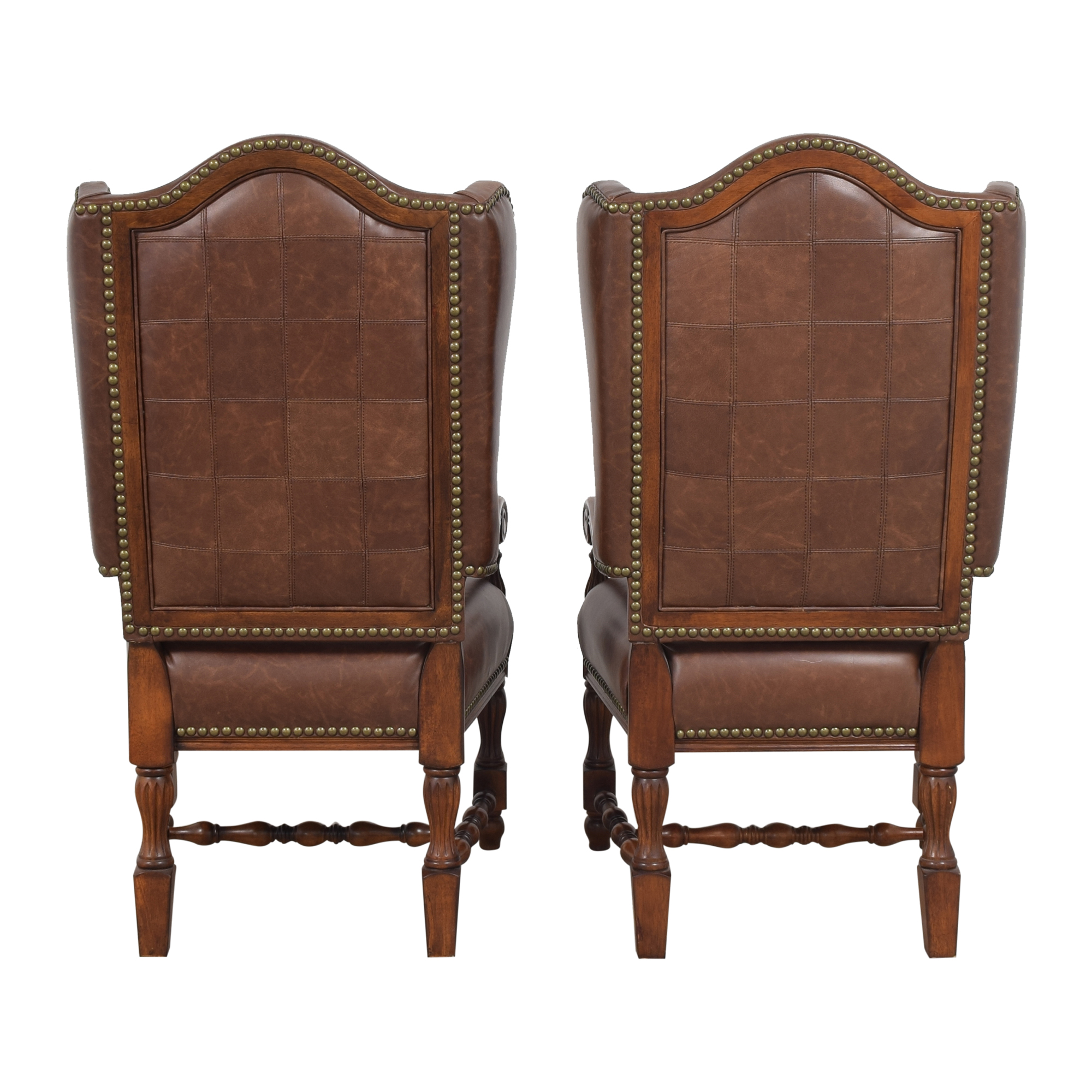 shop Wing Back Nailhead Dining Arm Chairs  Chairs