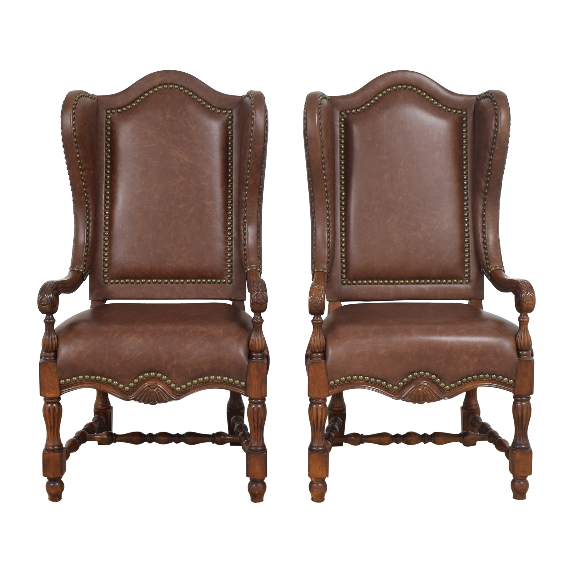 Wing Back Nailhead Dining Arm Chairs Dining Chairs