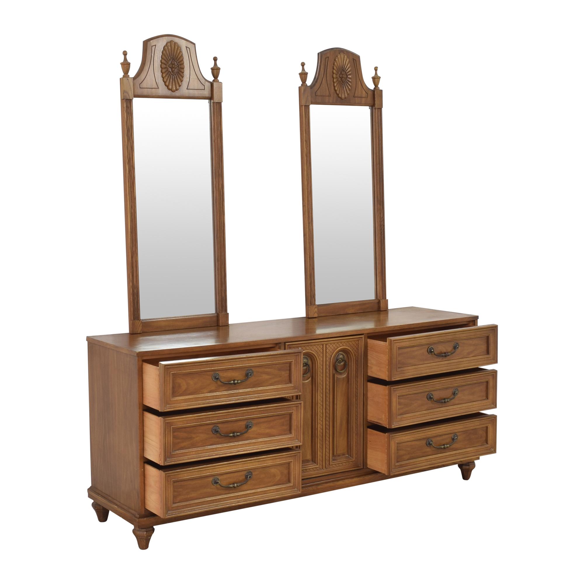 shop Bassett Furniture Cortese Triple Dresser with Mirrors Bassett Furniture Storage