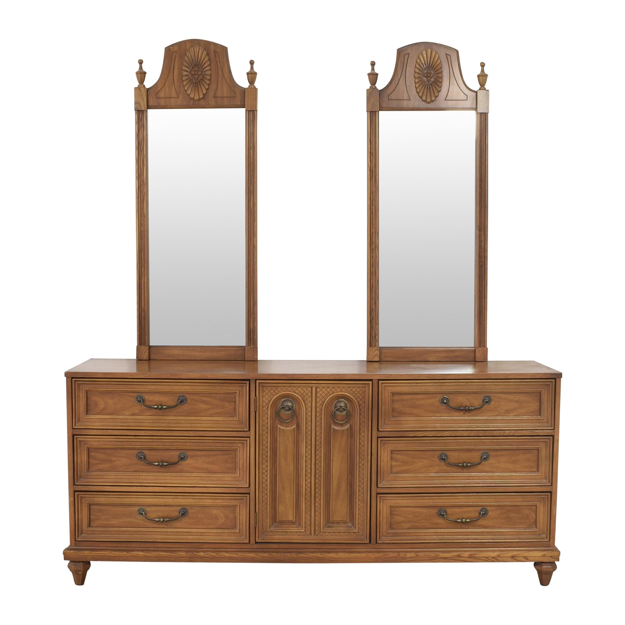 Bassett Furniture Bassett Furniture Cortese Triple Dresser with Mirrors Storage