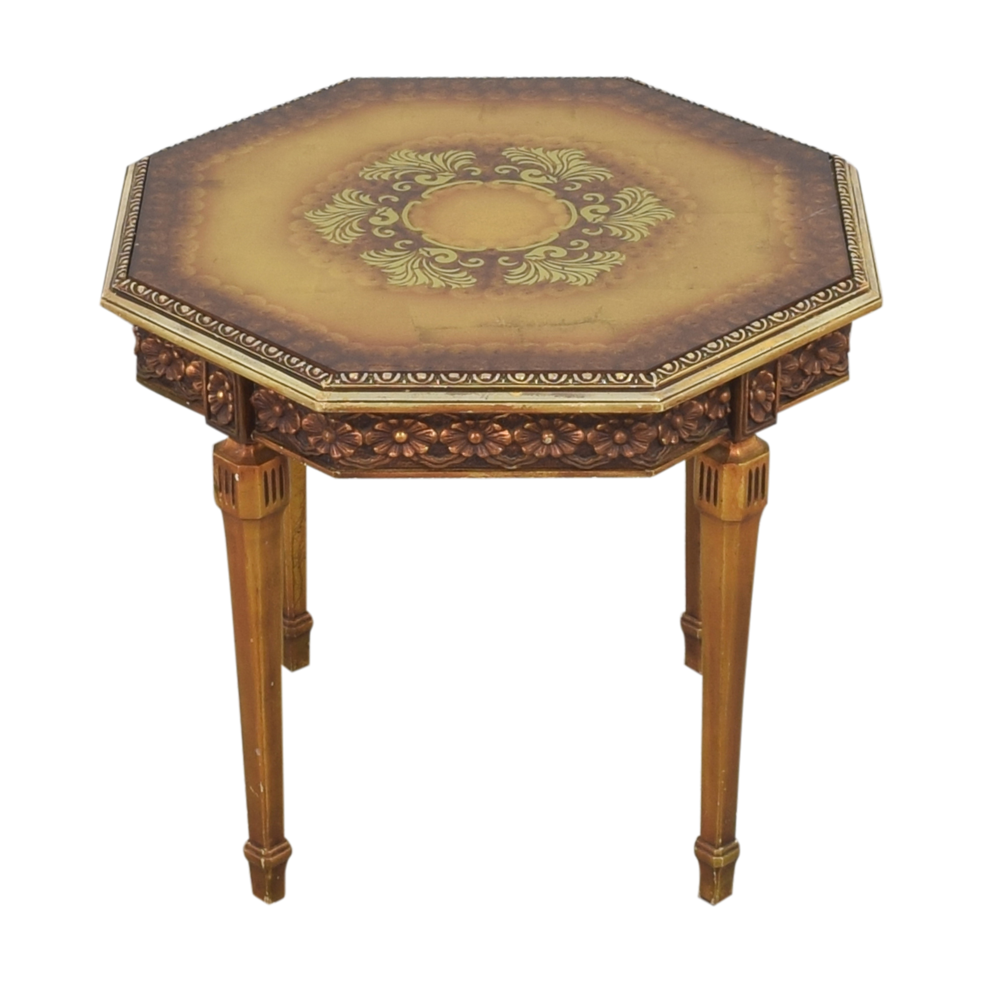 Carved Octagonal End Table second hand