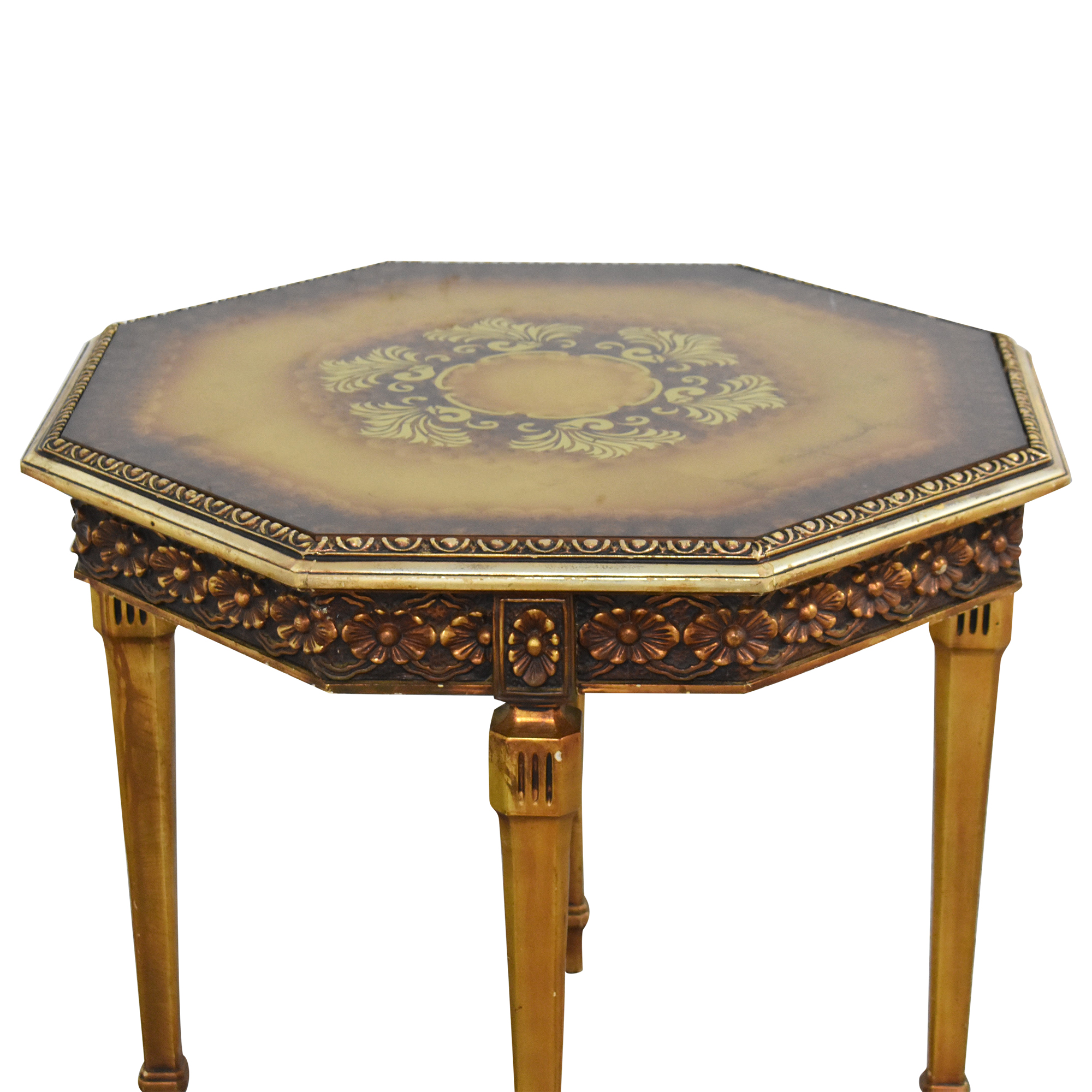 Carved Octagonal End Table pa
