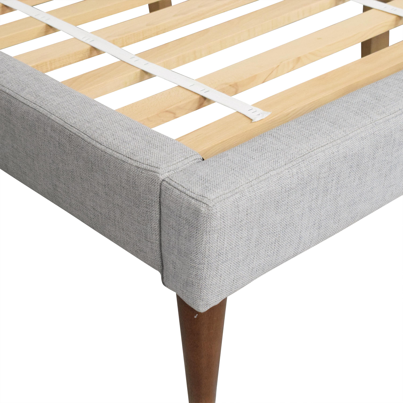 buy West Elm Grid Tufted Upholstered Tapered Leg Queen Bed West Elm Beds
