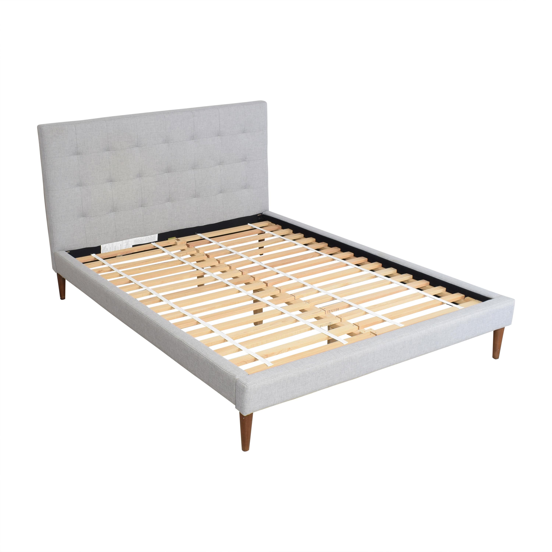 West Elm Grid Tufted Upholstered Tapered Leg Queen Bed / Bed Frames