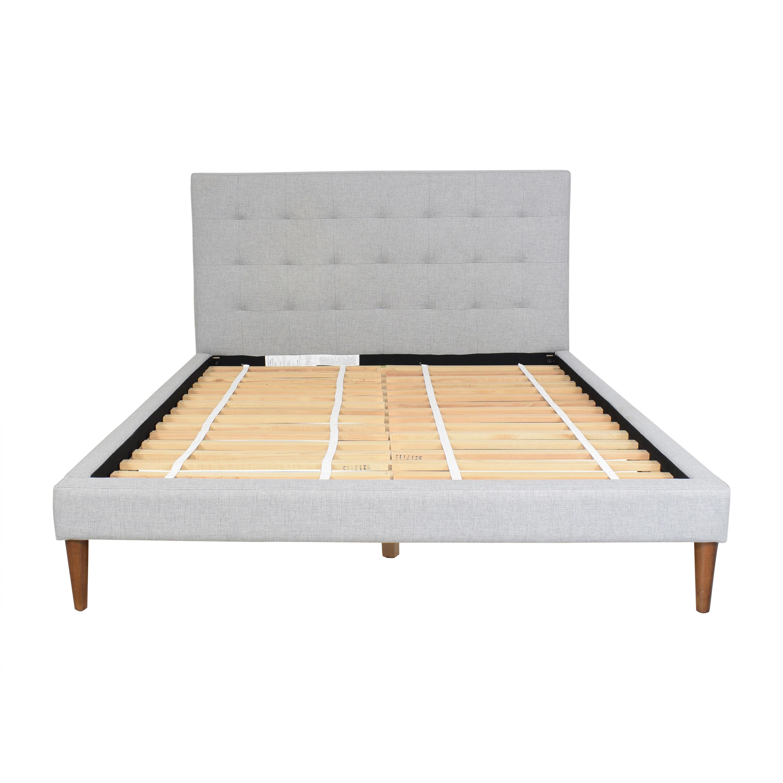shop West Elm Grid Tufted Upholstered Tapered Leg Queen Bed West Elm Beds