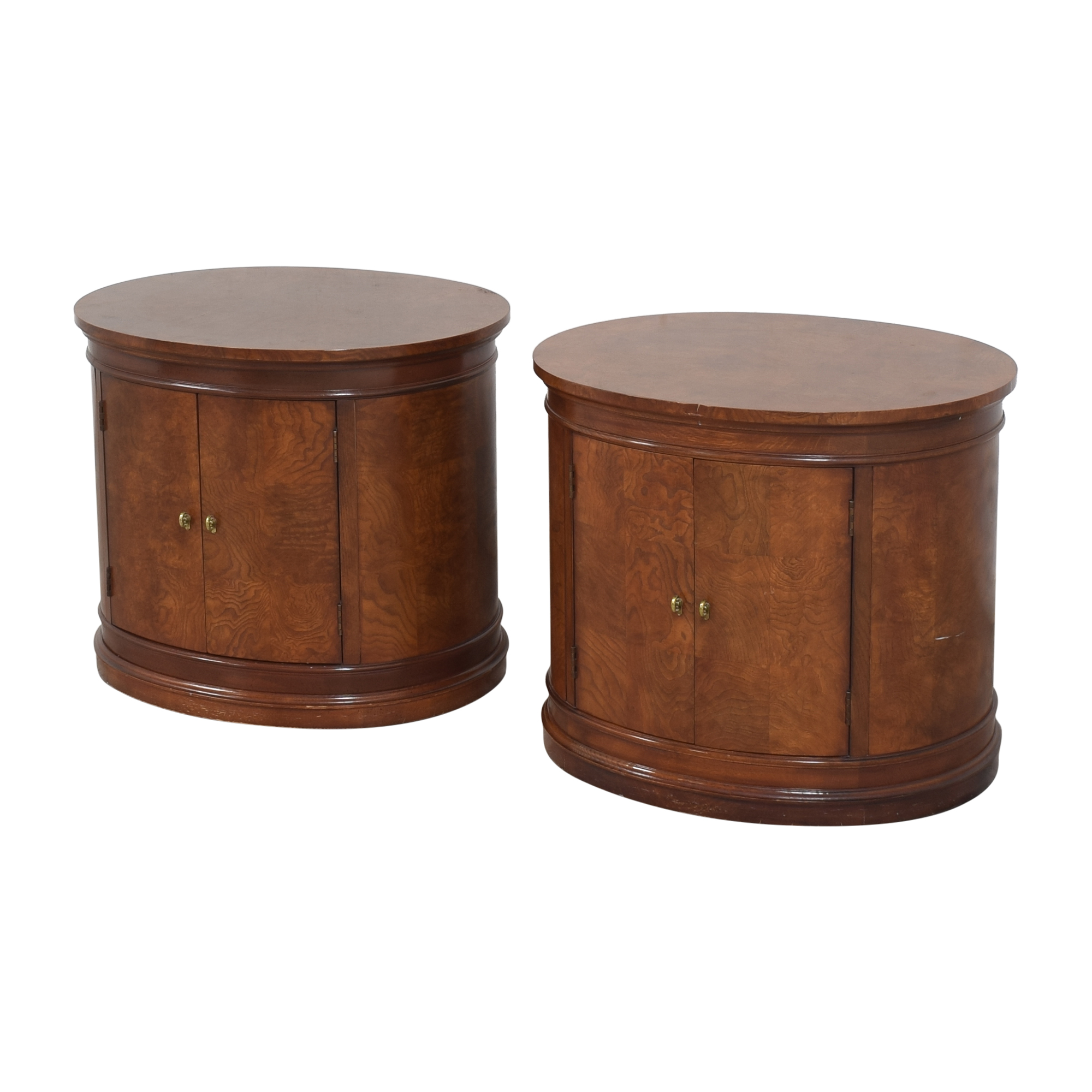 Hickory White Oval Nightstands / Tables