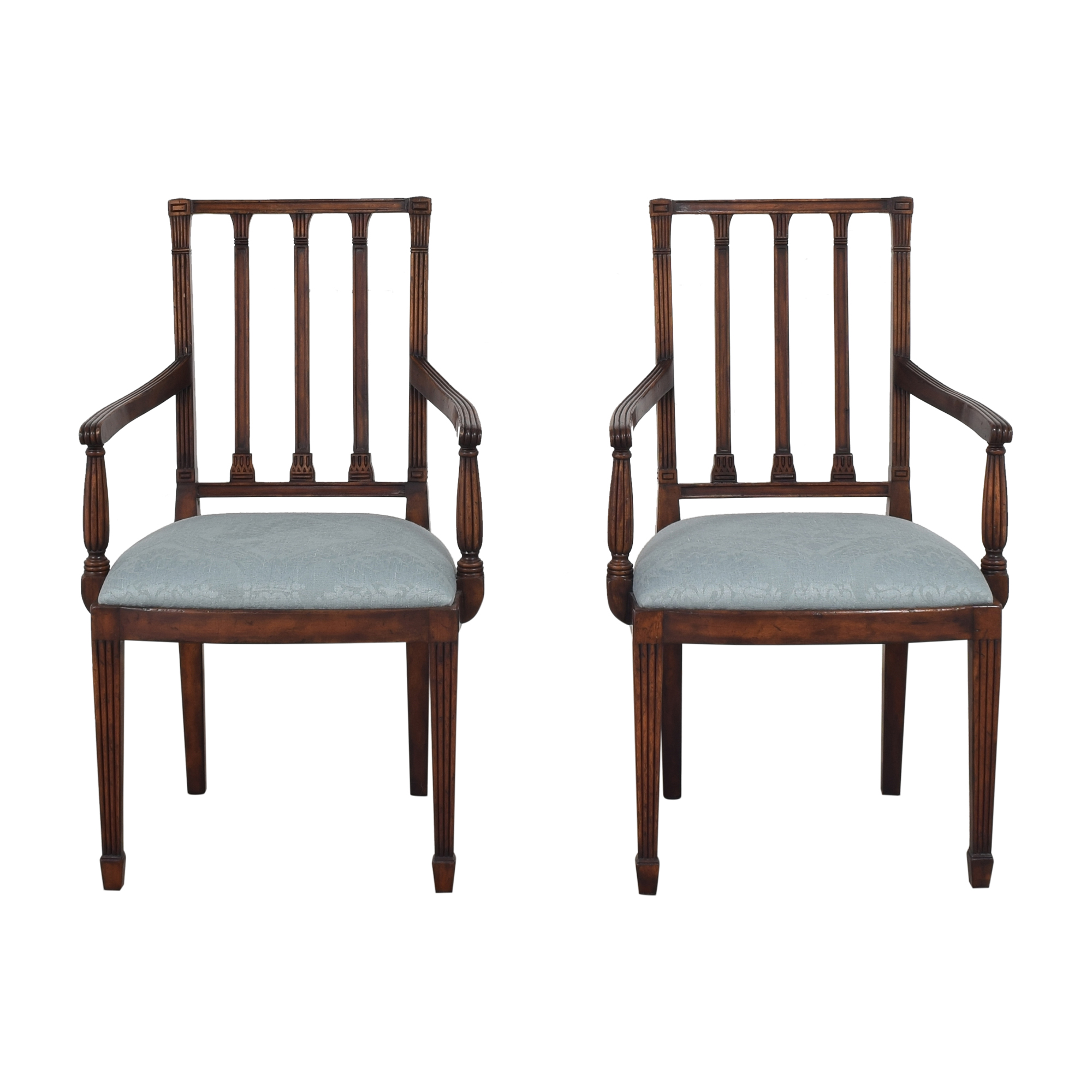 English Country Home English Country Home Upholstered Dining Arm Chairs dark brown and light blue