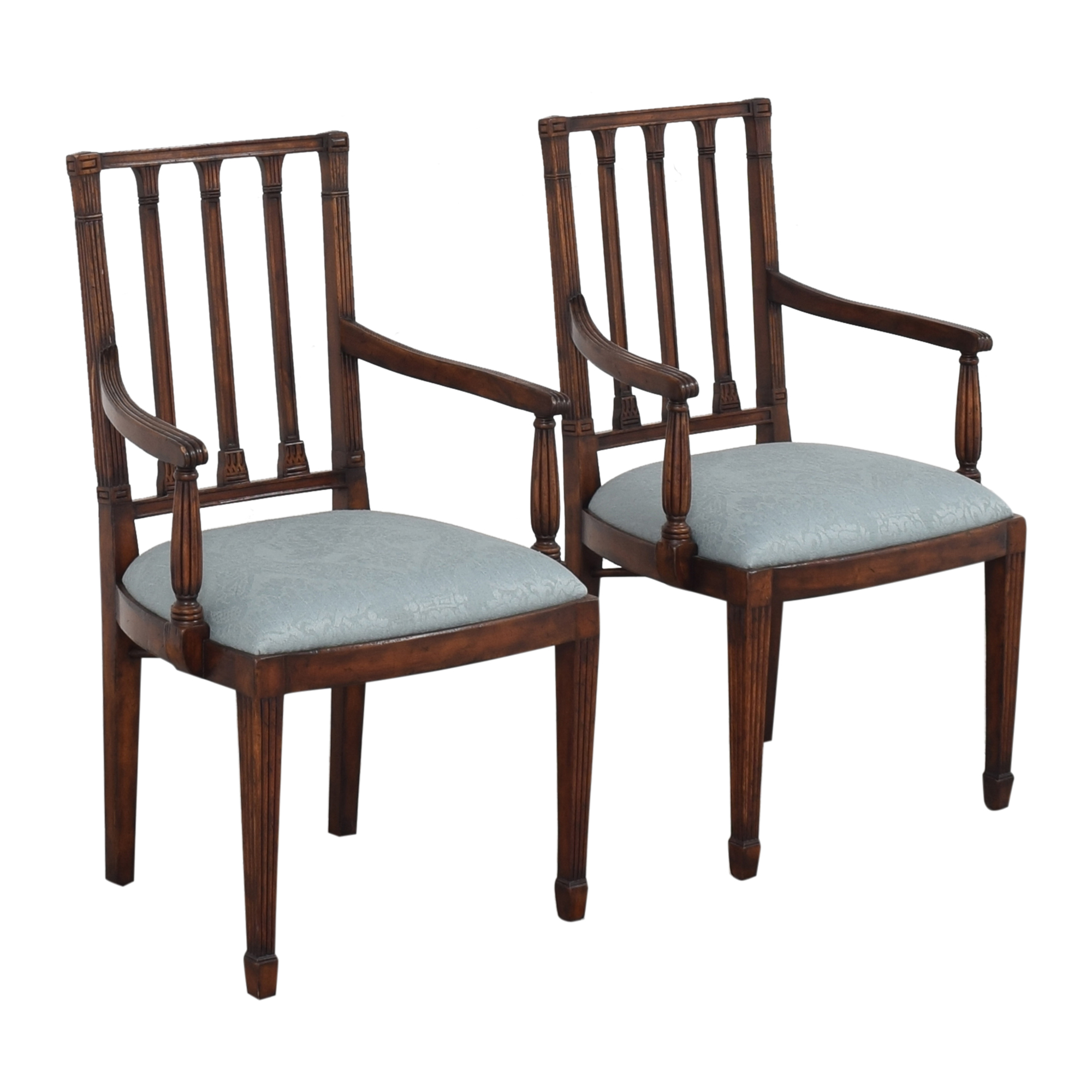 English Country Home Upholstered Dining Arm Chairs English Country Home
