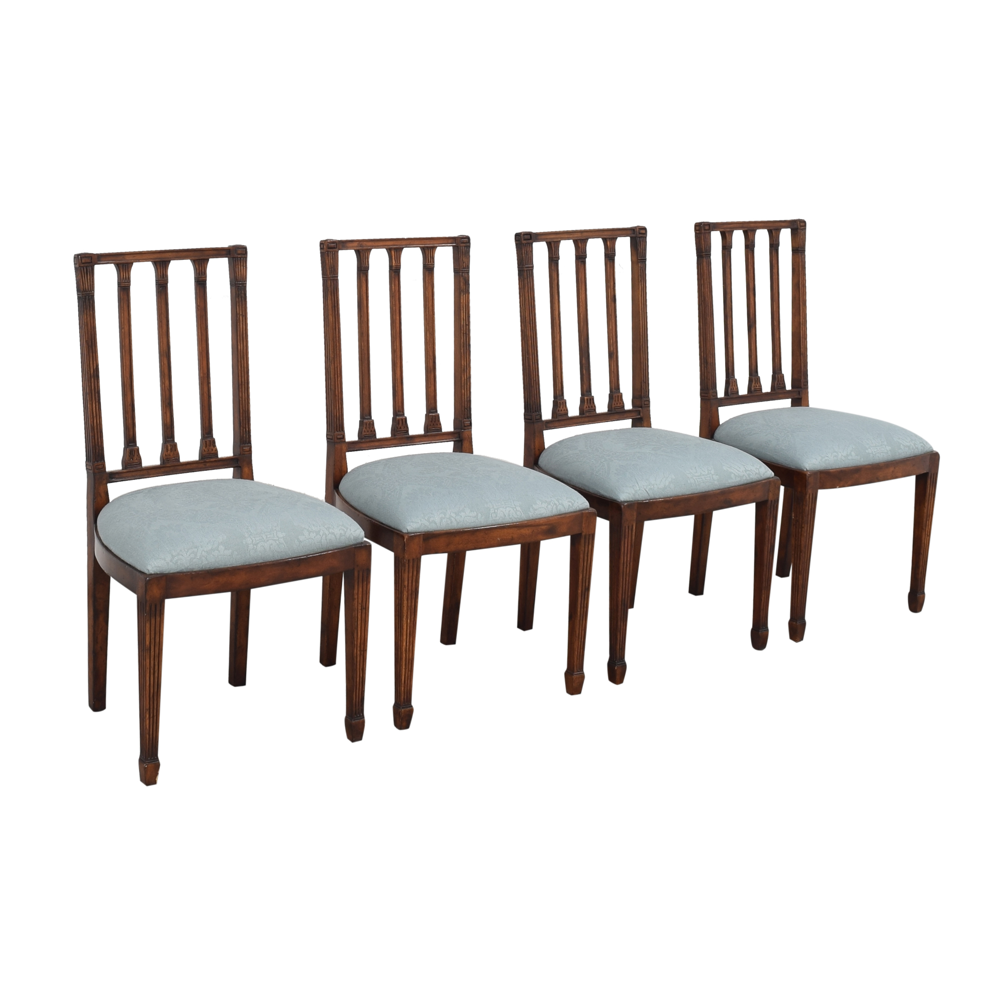 English Country Home English Country Home Upholstered Dining Chairs dark brown and light blue