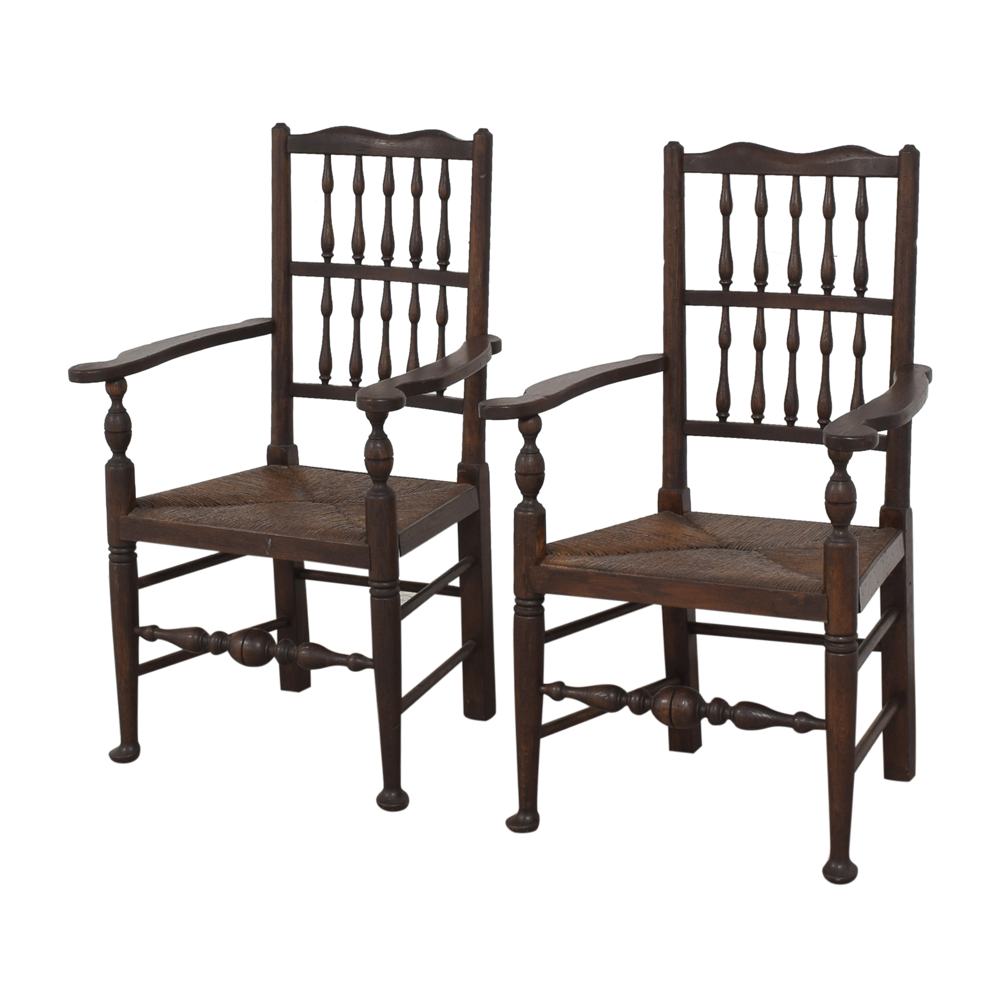 Spindle Back Rush Seat Dining Arm Chairs / Dining Chairs