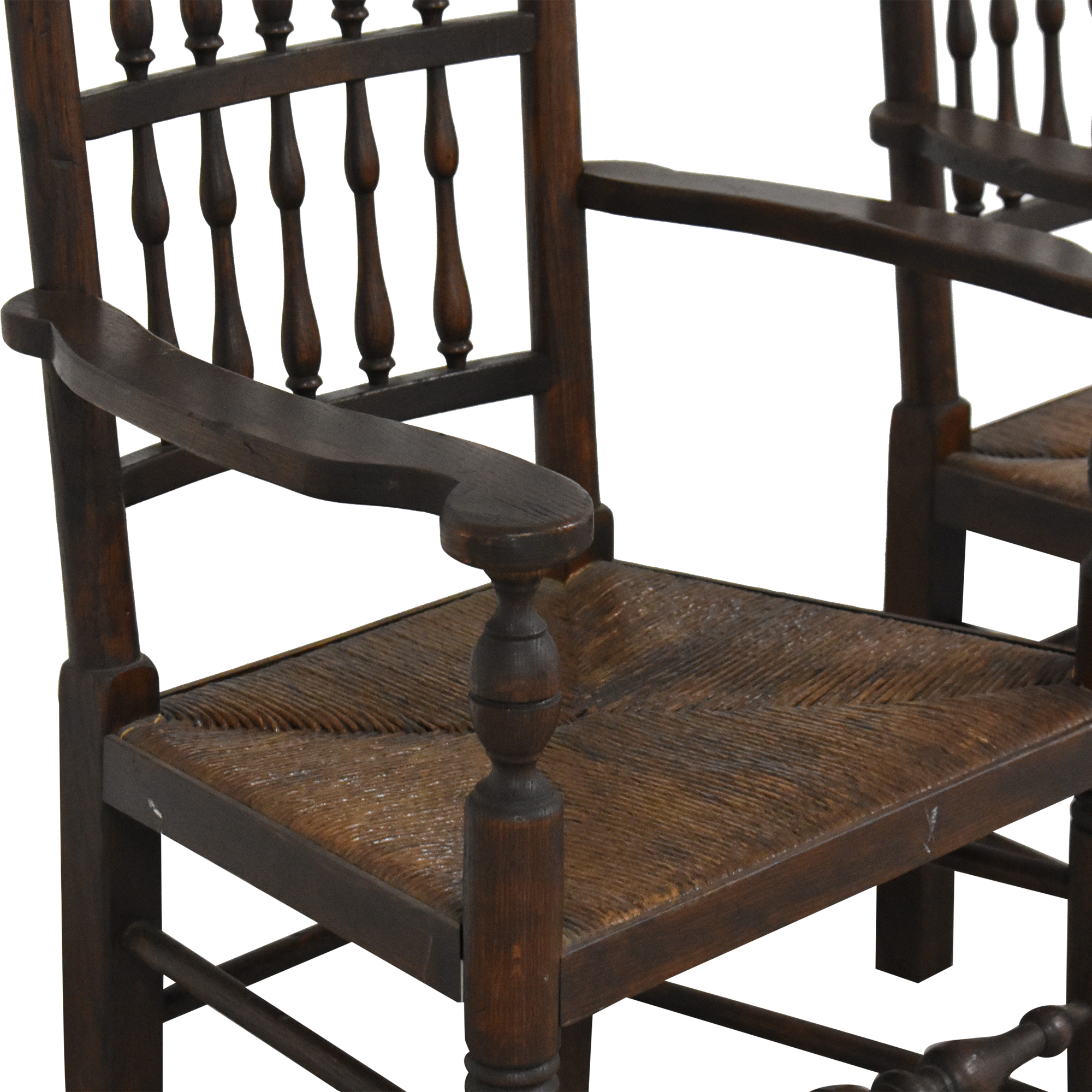 Spindle Back Rush Seat Dining Arm Chairs used