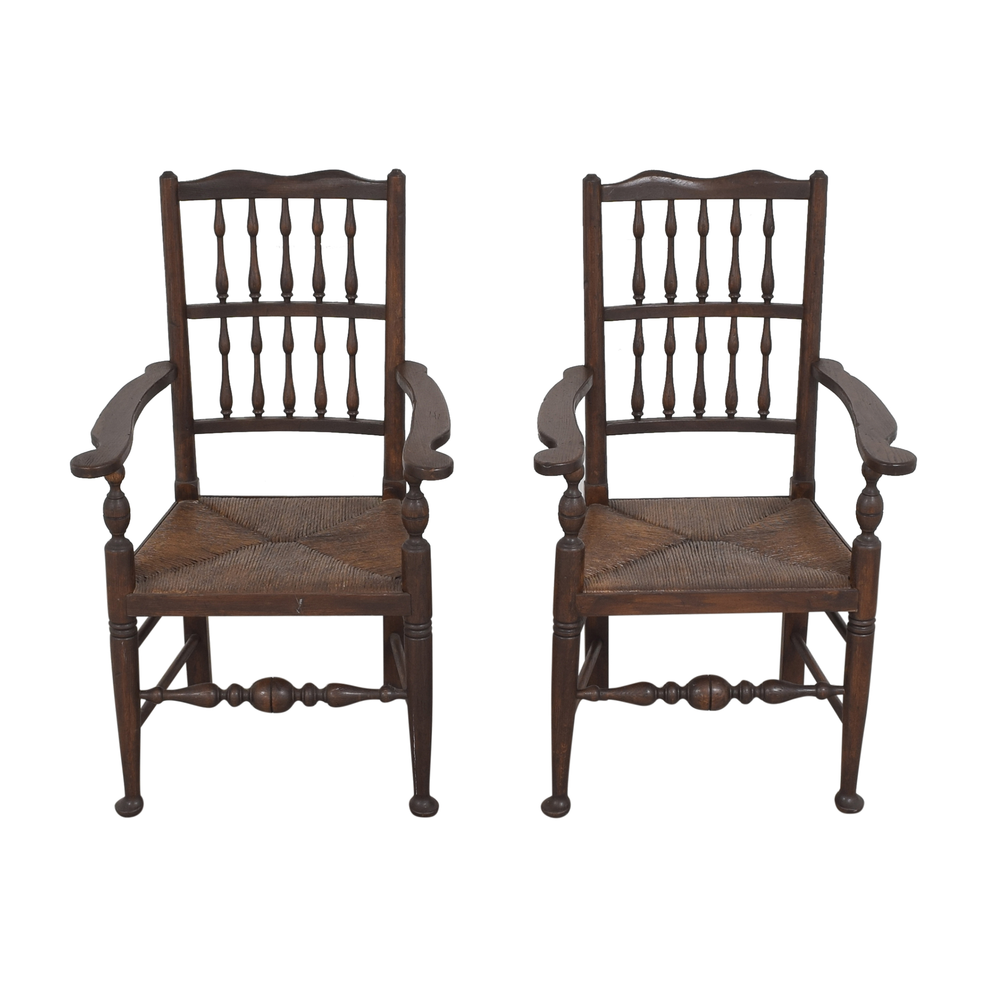 shop Spindle Back Rush Seat Dining Arm Chairs  Dining Chairs
