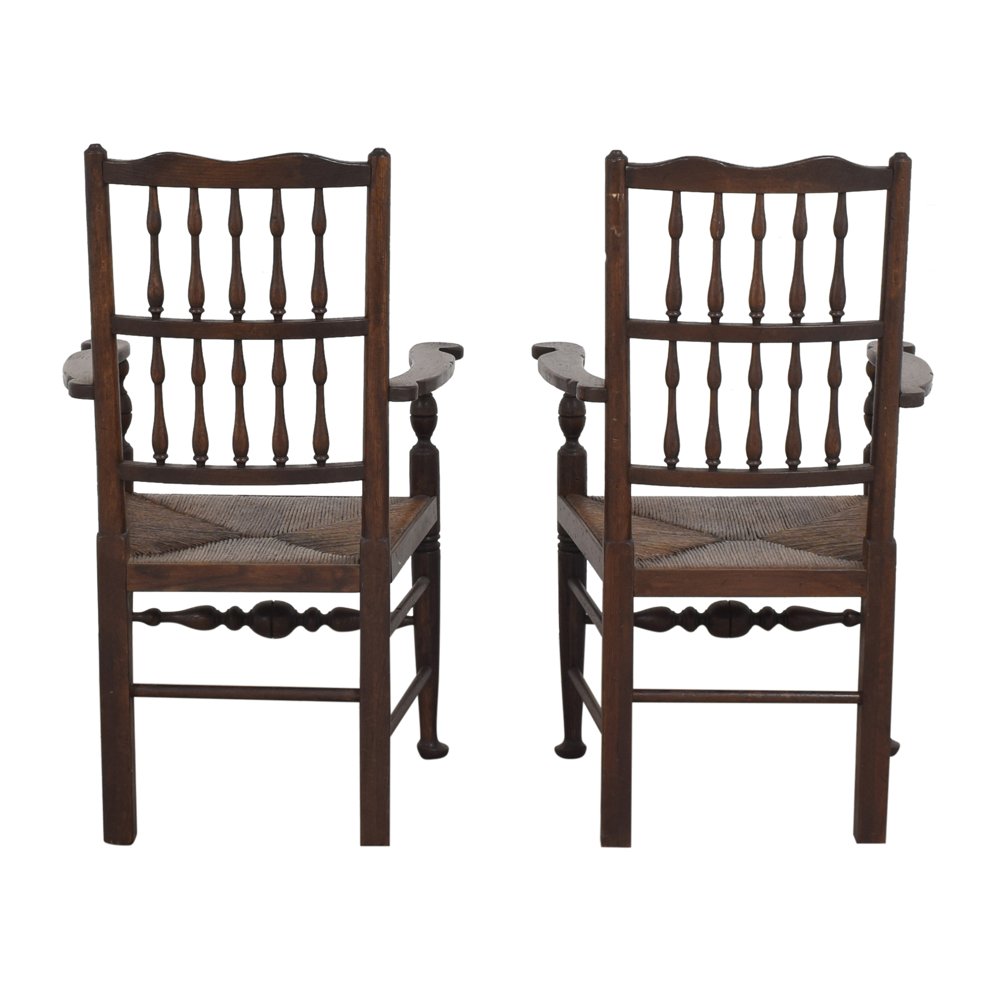 Spindle Back Rush Seat Dining Arm Chairs