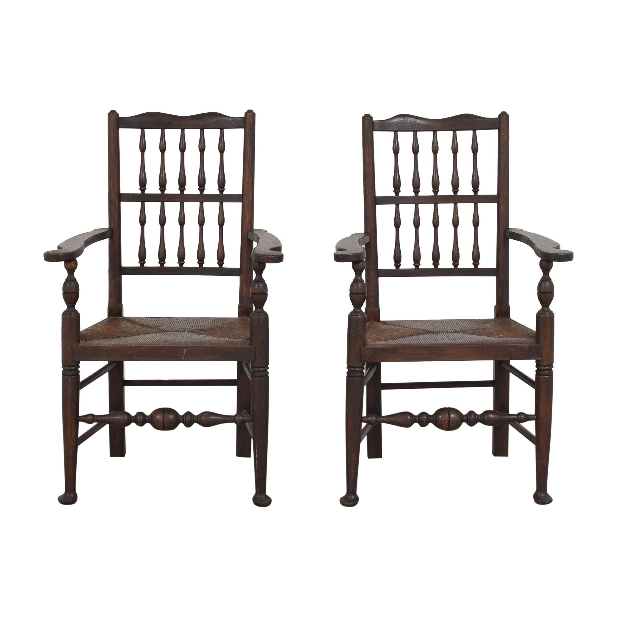 Spindle Back Rush Seat Dining Arm Chairs price