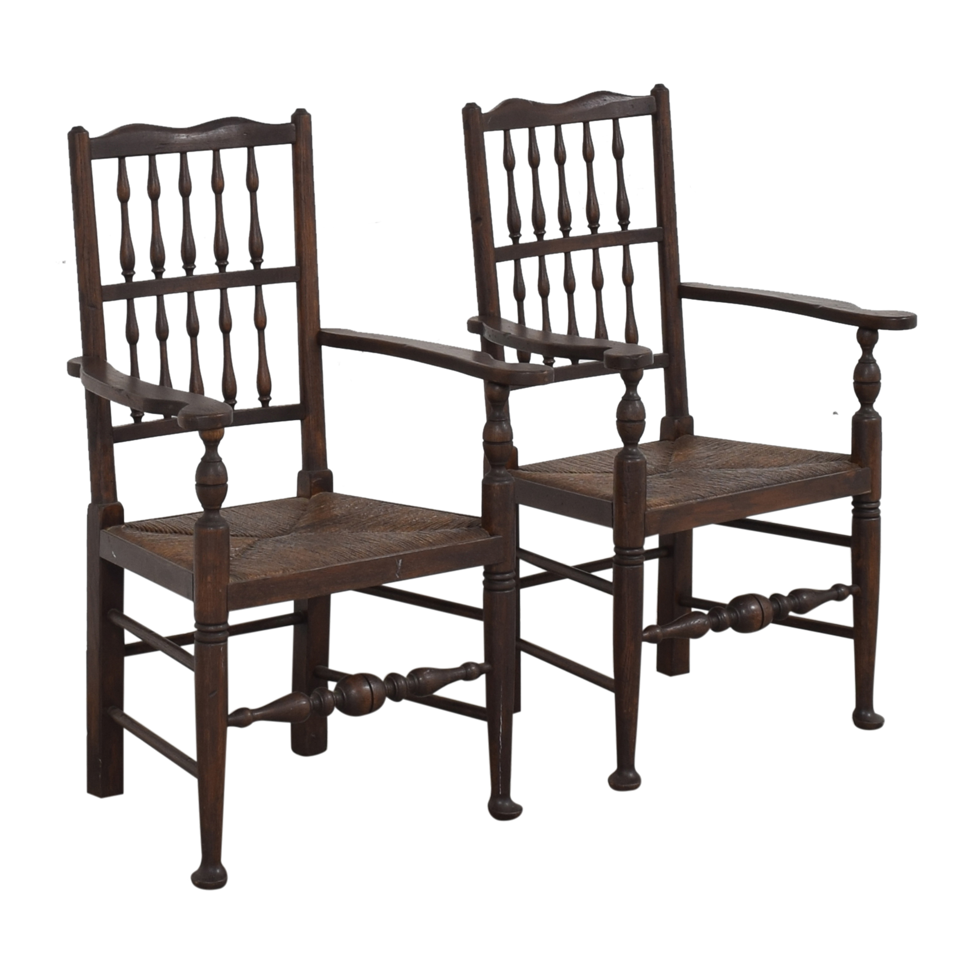 Spindle Back Rush Seat Dining Arm Chairs dark brown