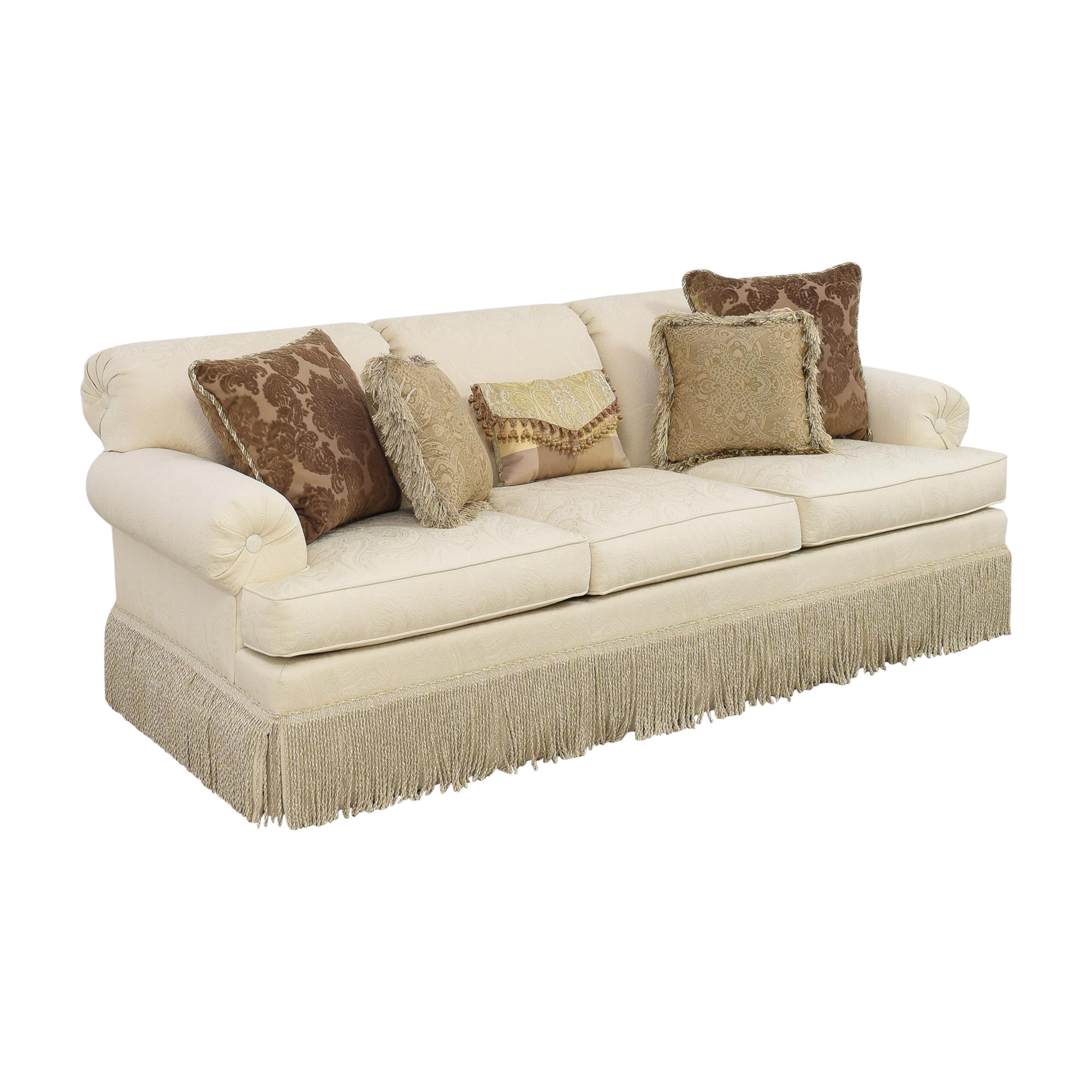 Ethan Allen Fringed Three Cushion Sofa Ethan Allen