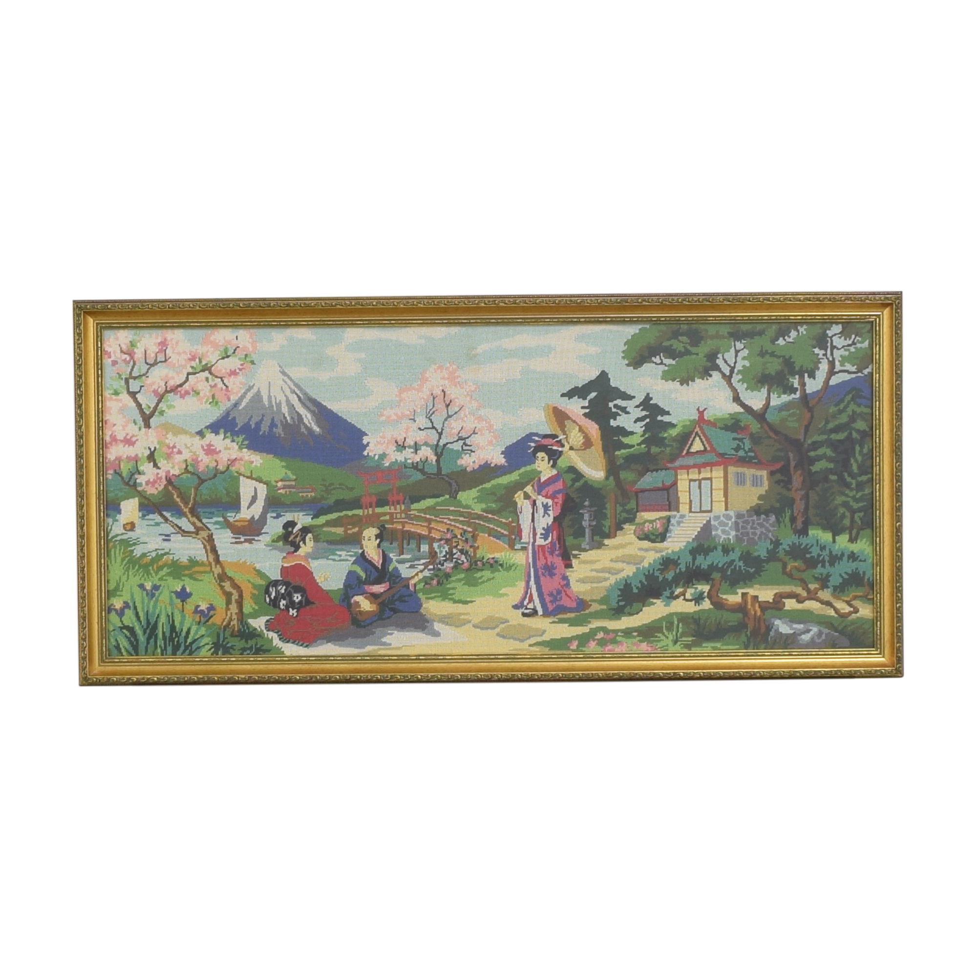 Vintage Needlepoint Tapestry Wall Art ct