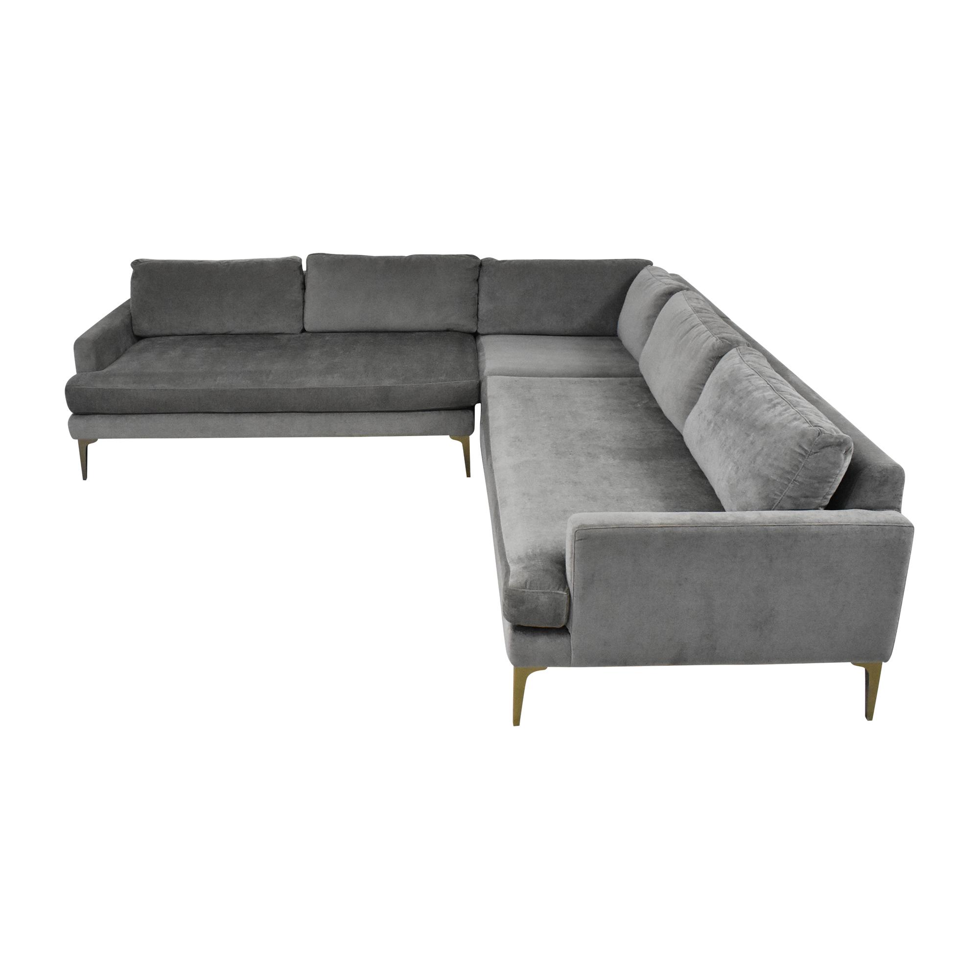 shop West Elm West Elm Andes Three Piece L Shaped Sectional Sofa online
