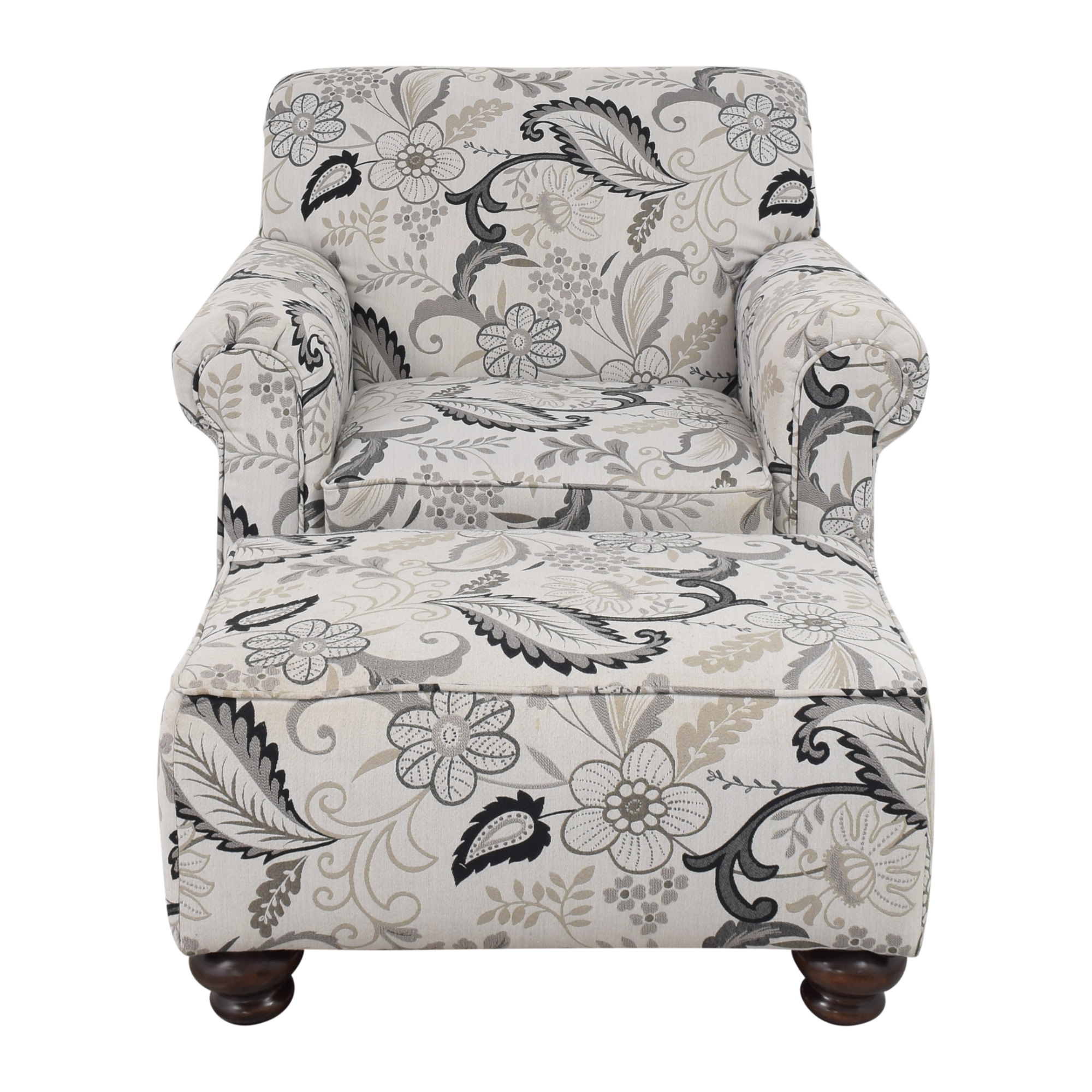 shop Stacy Furniture Floral Accent Chair with Ottoman Stacy Furniture Chairs