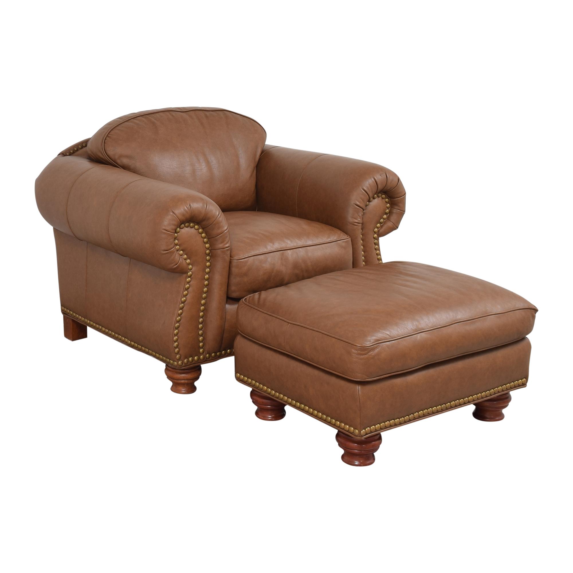 Thomasville Nailhead Club Chair with Ottoman sale