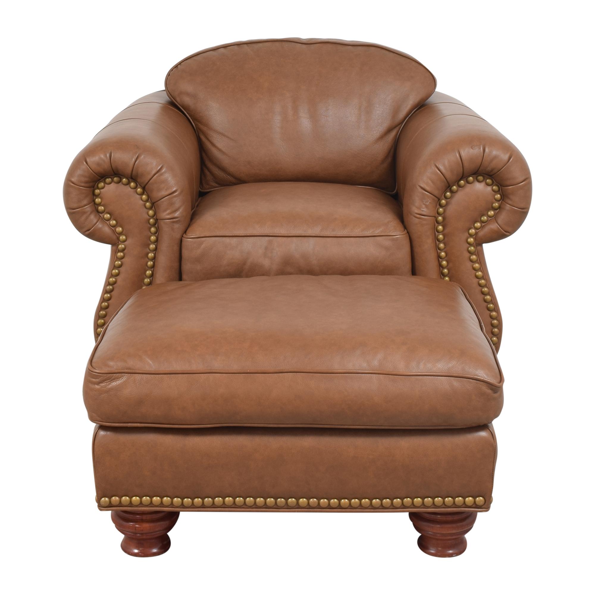 shop Thomasville Nailhead Club Chair with Ottoman Thomasville Chairs