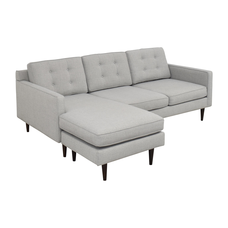 West Elm West Elm Drake Reversible Chaise Sectional Sofa light grey