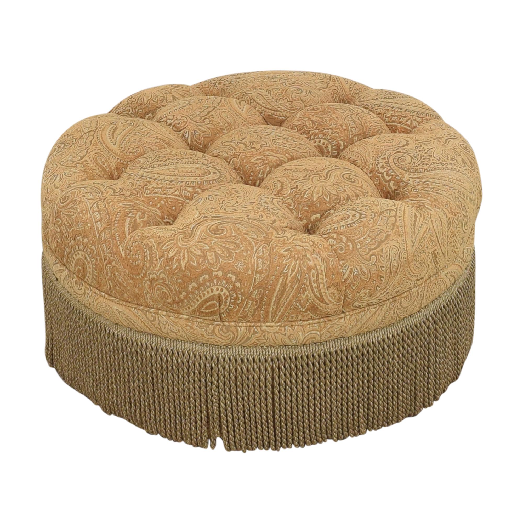Round Tufted Fringe Ottoman tan