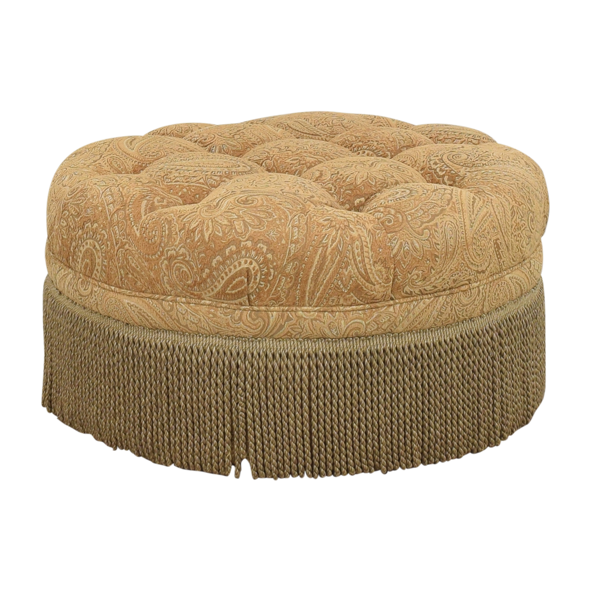 Round Tufted Fringe Ottoman for sale
