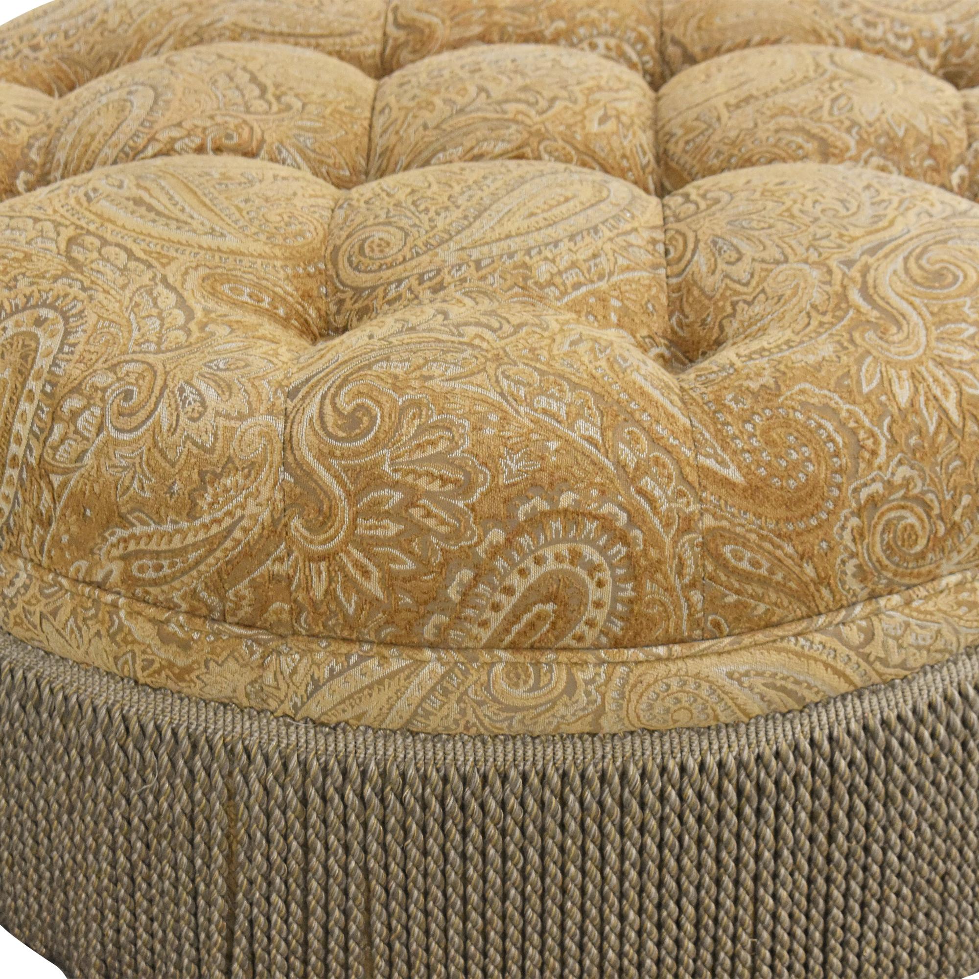 shop Round Tufted Fringe Ottoman