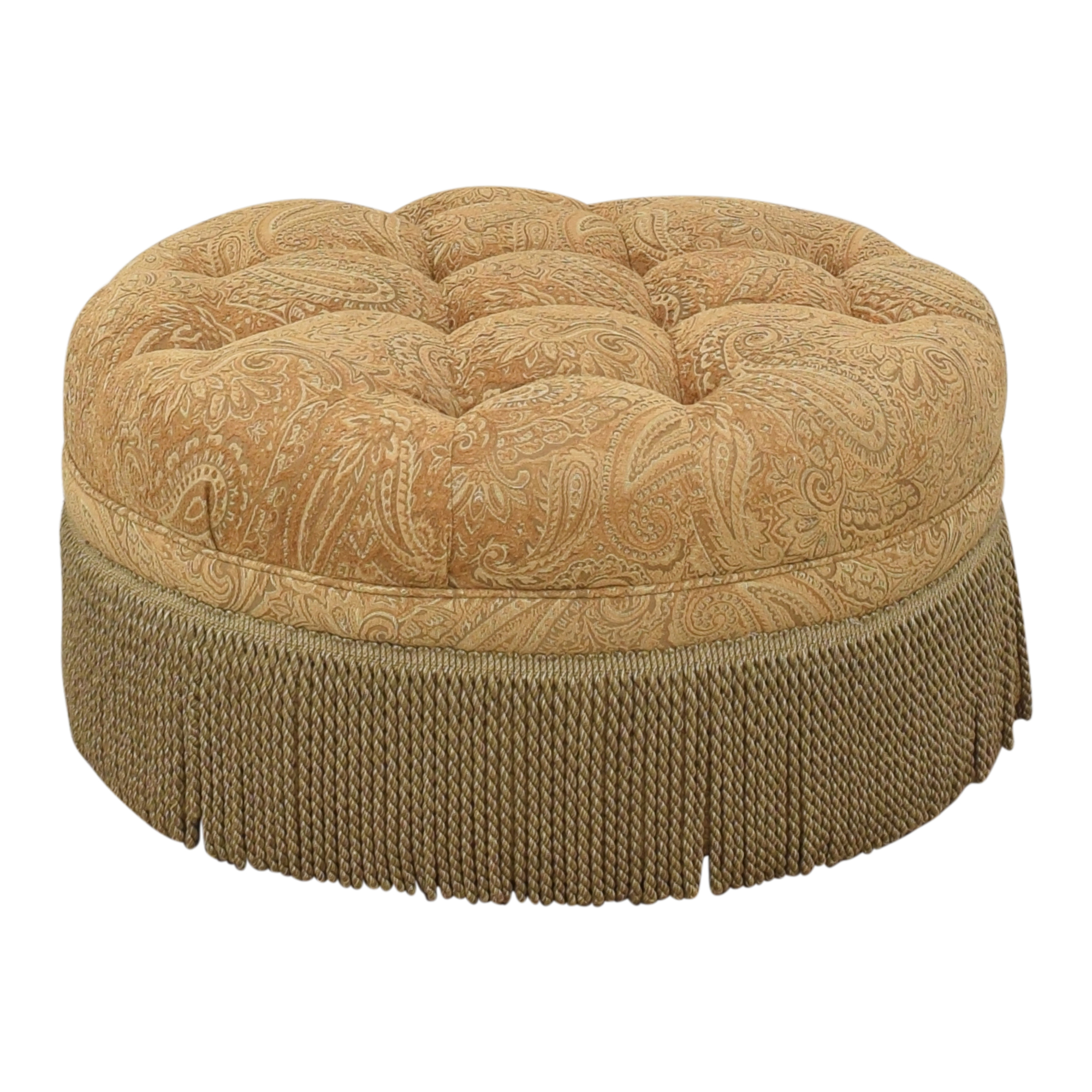 Round Tufted Fringe Ottoman Chairs