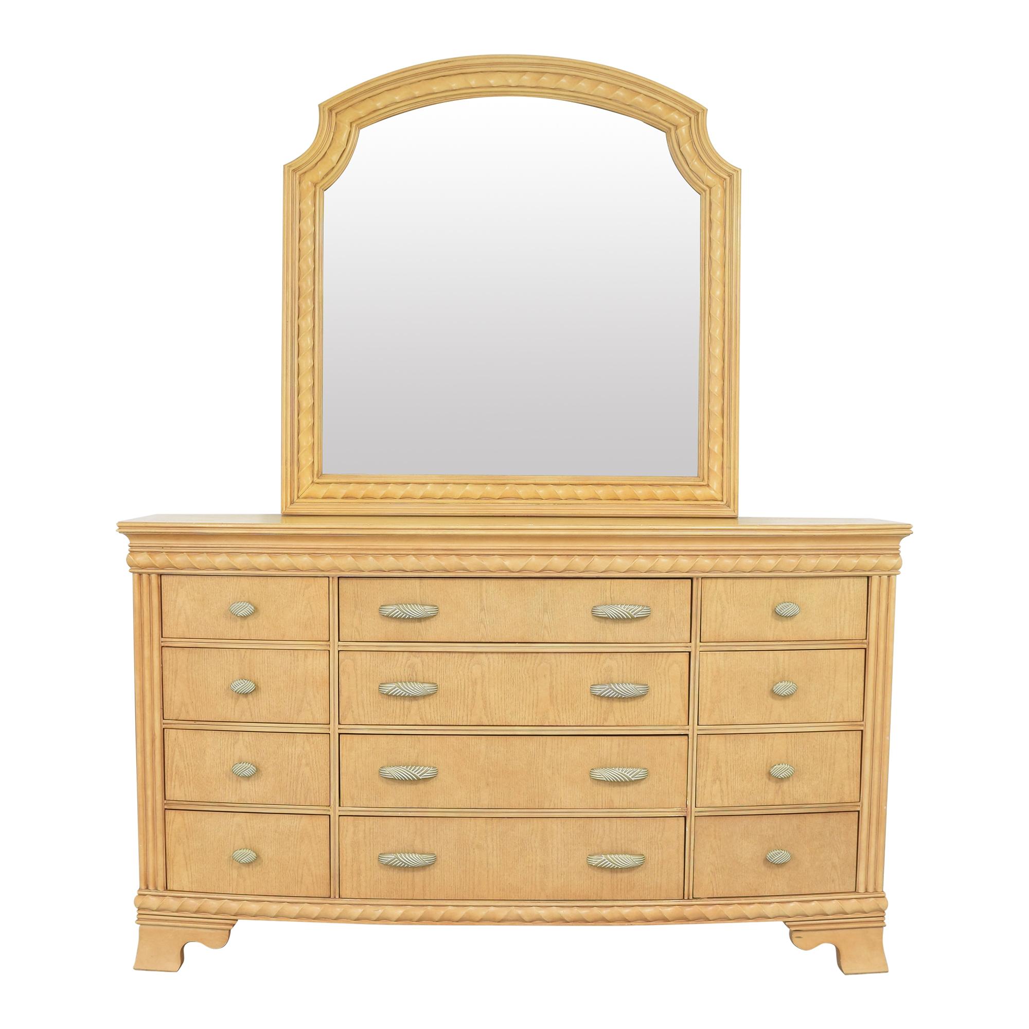 shop Raymour & Flanigan Triple Dresser with Mirror Raymour & Flanigan