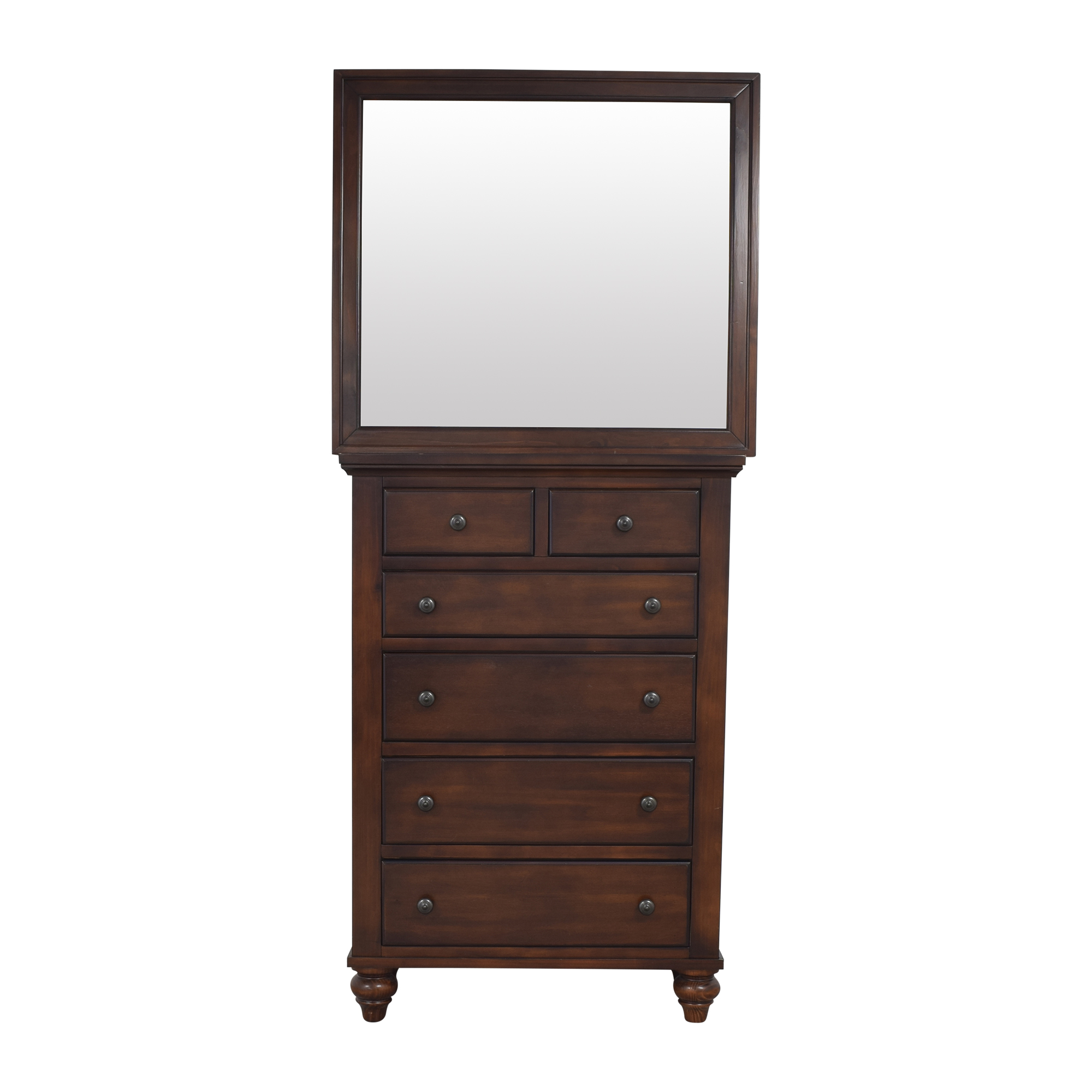 Raymour & Flanigan Raymour & Flanigan Six Drawer Chest with Mirror for sale