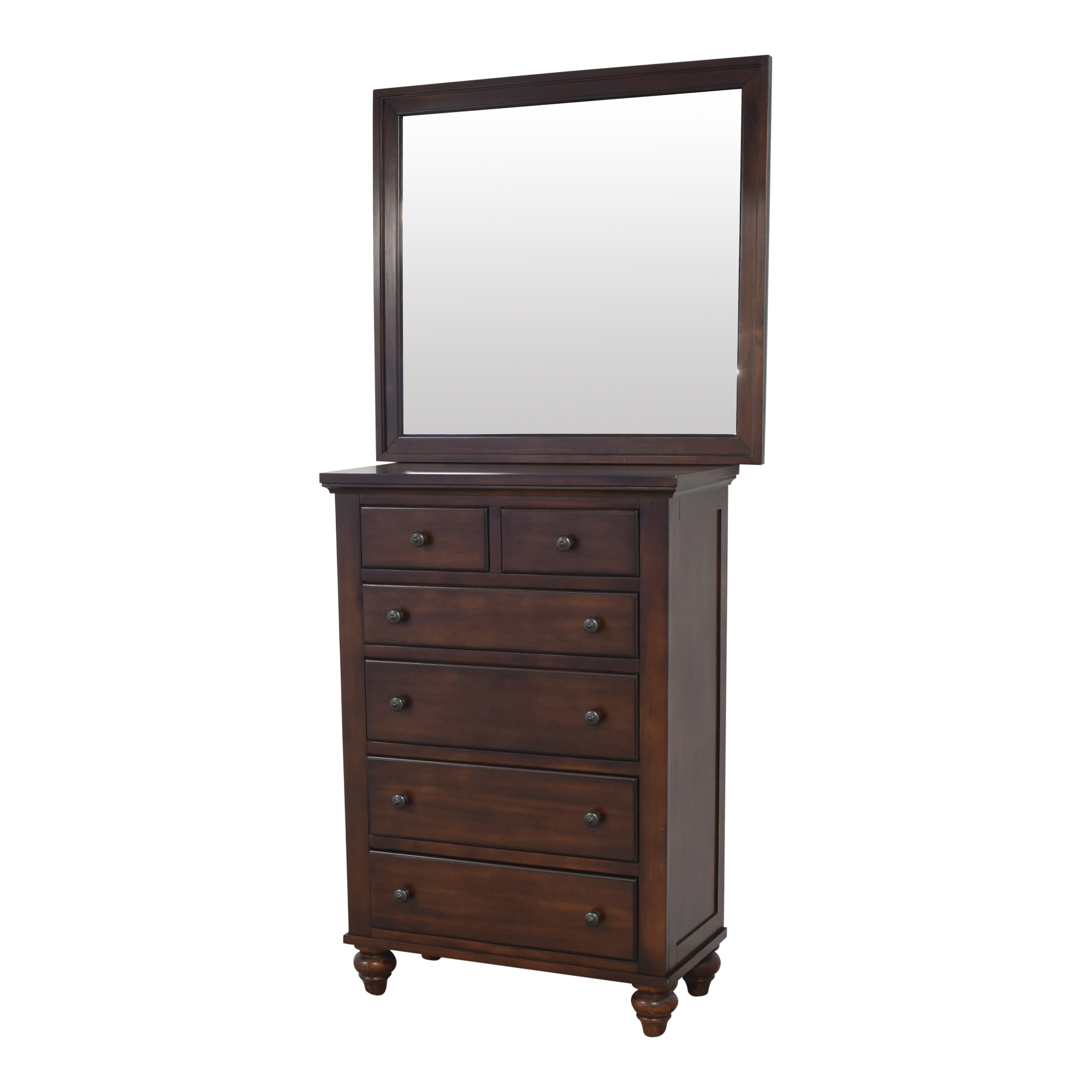 Raymour & Flanigan Six Drawer Chest with Mirror Raymour & Flanigan