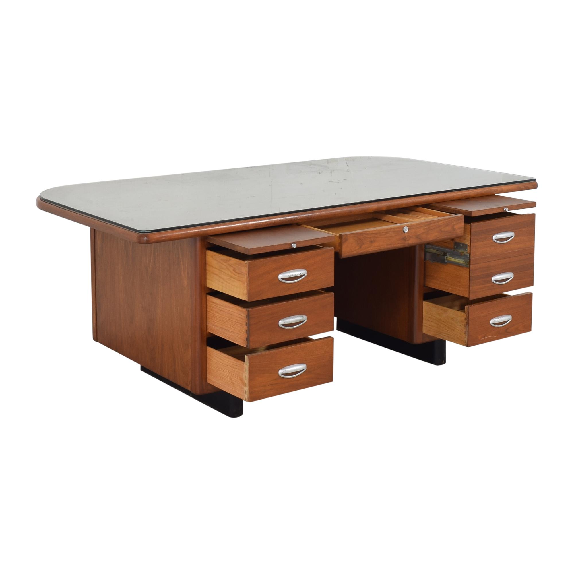 Hoosier Desk Co. Hoosier Desk Co. Vintage Executive Desk dimensions