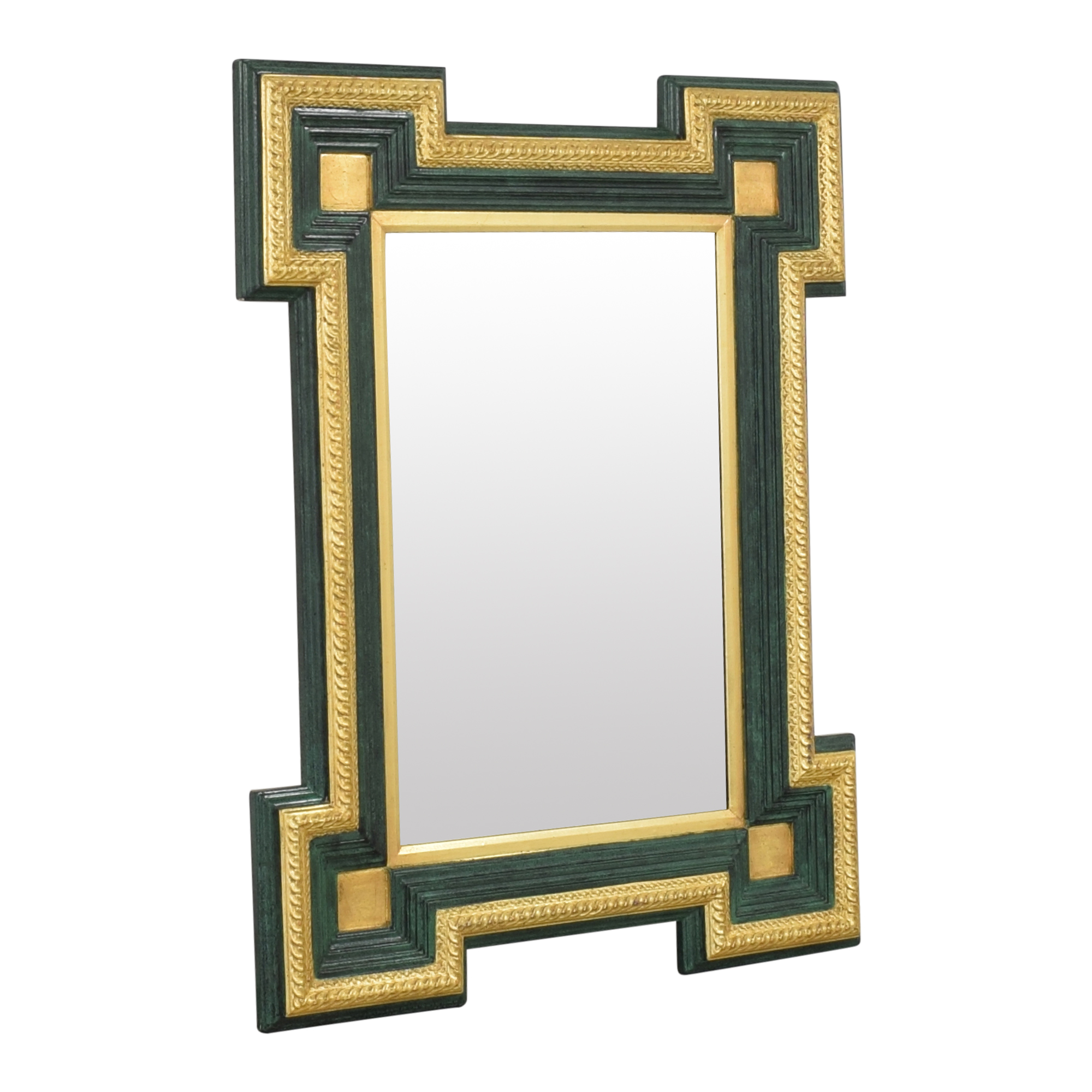 Two Tone Framed Mirror dark green and gold
