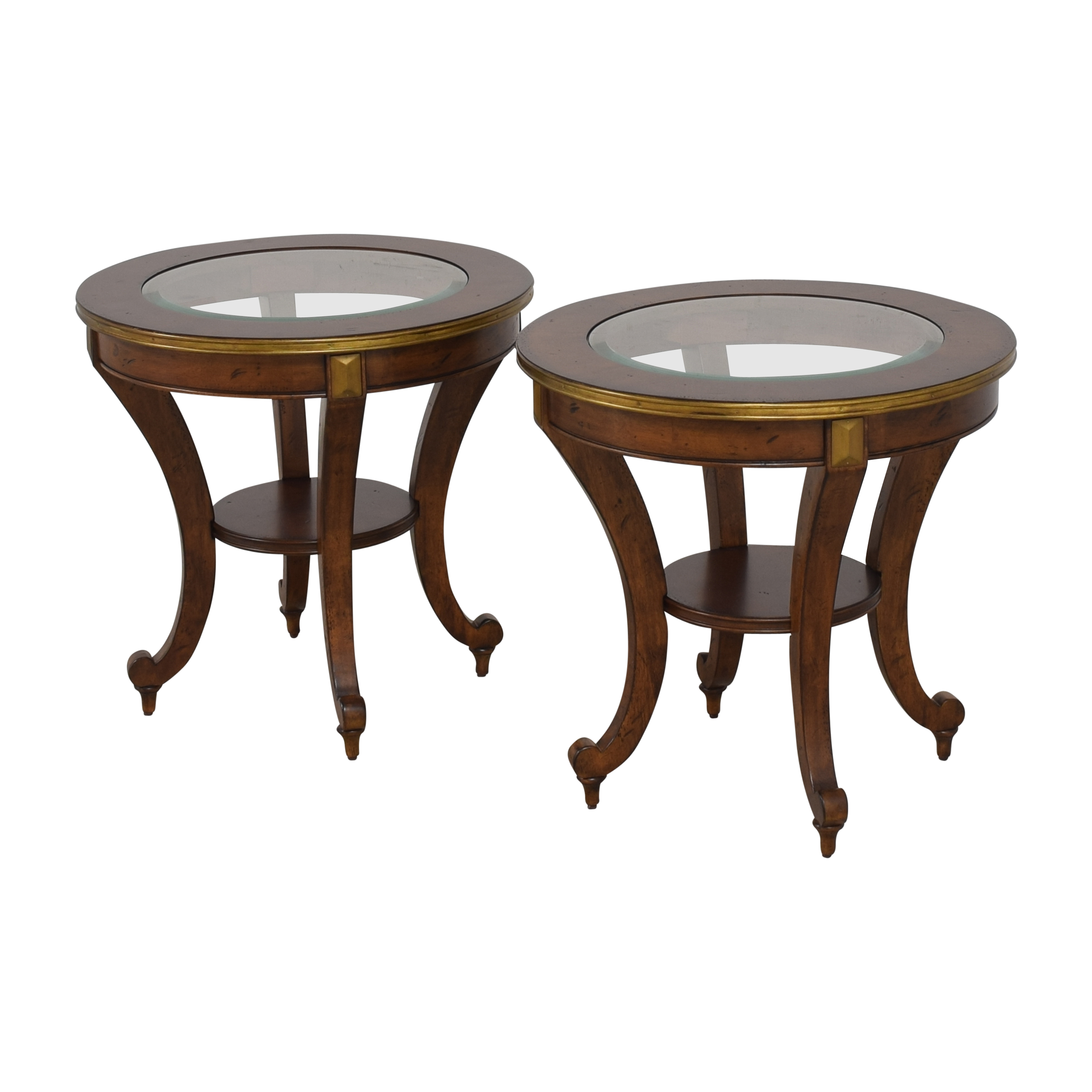 Havertys Havertys Round End Tables brown and gold