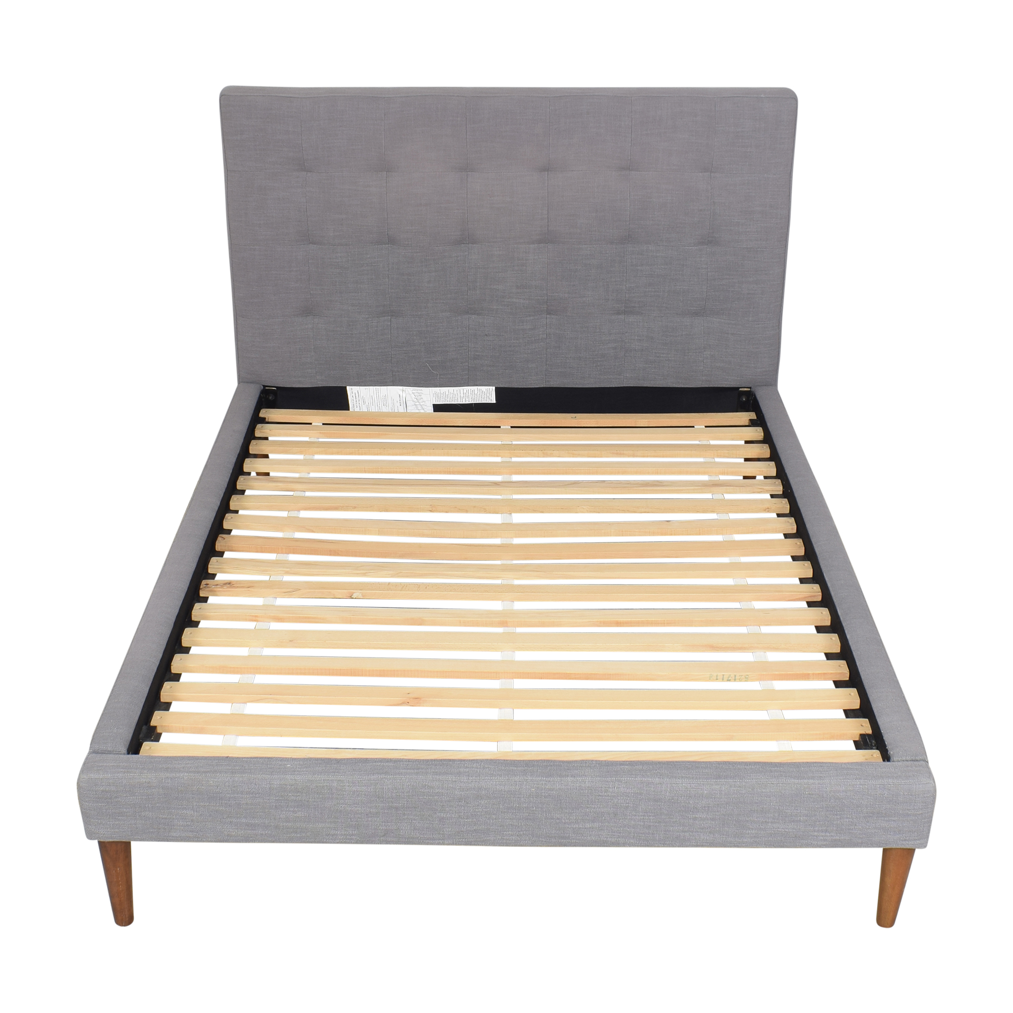 West Elm West Elm Grid Tufted Upholstered Tapered Leg Queen Bed nyc