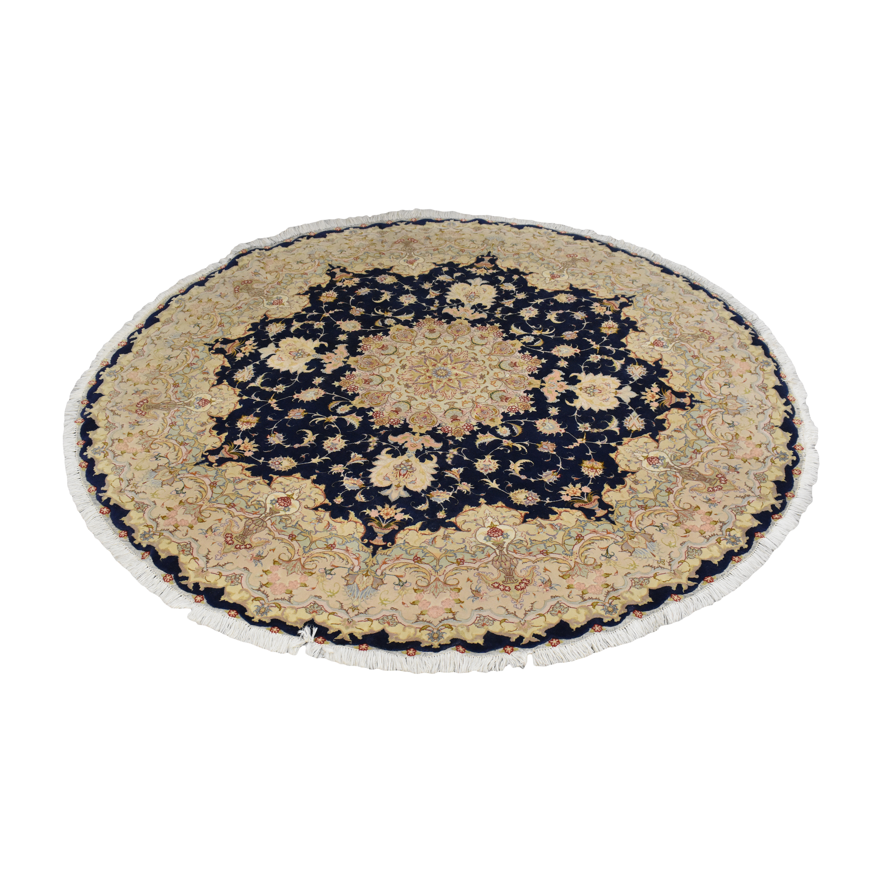 buy Round Patterned Rug with Tassels