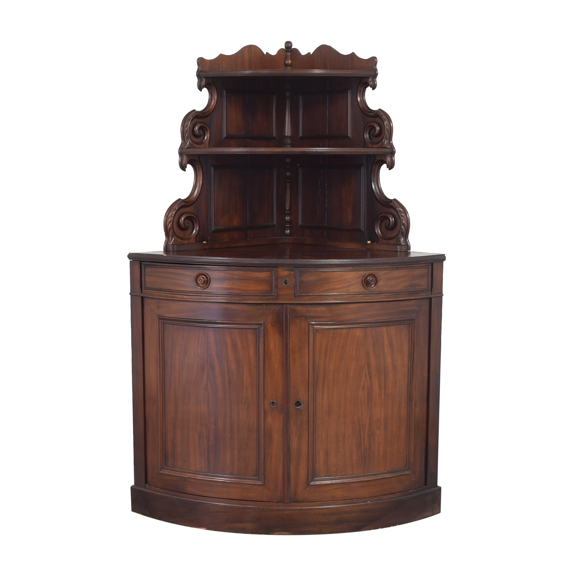 Vintage-Style Corner Cabinet with Hutch second hand
