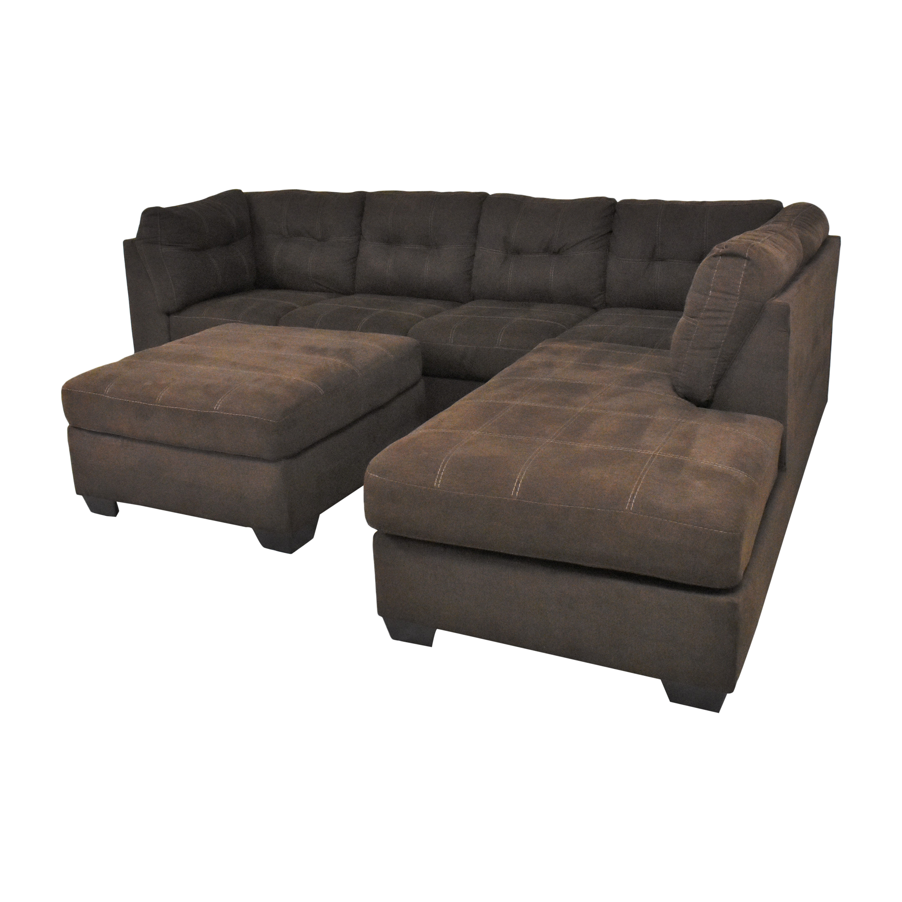 shop Ashley Furniture Pitkin Two-Piece Chaise Sectional with Ottoman Ashley Furniture Sofas