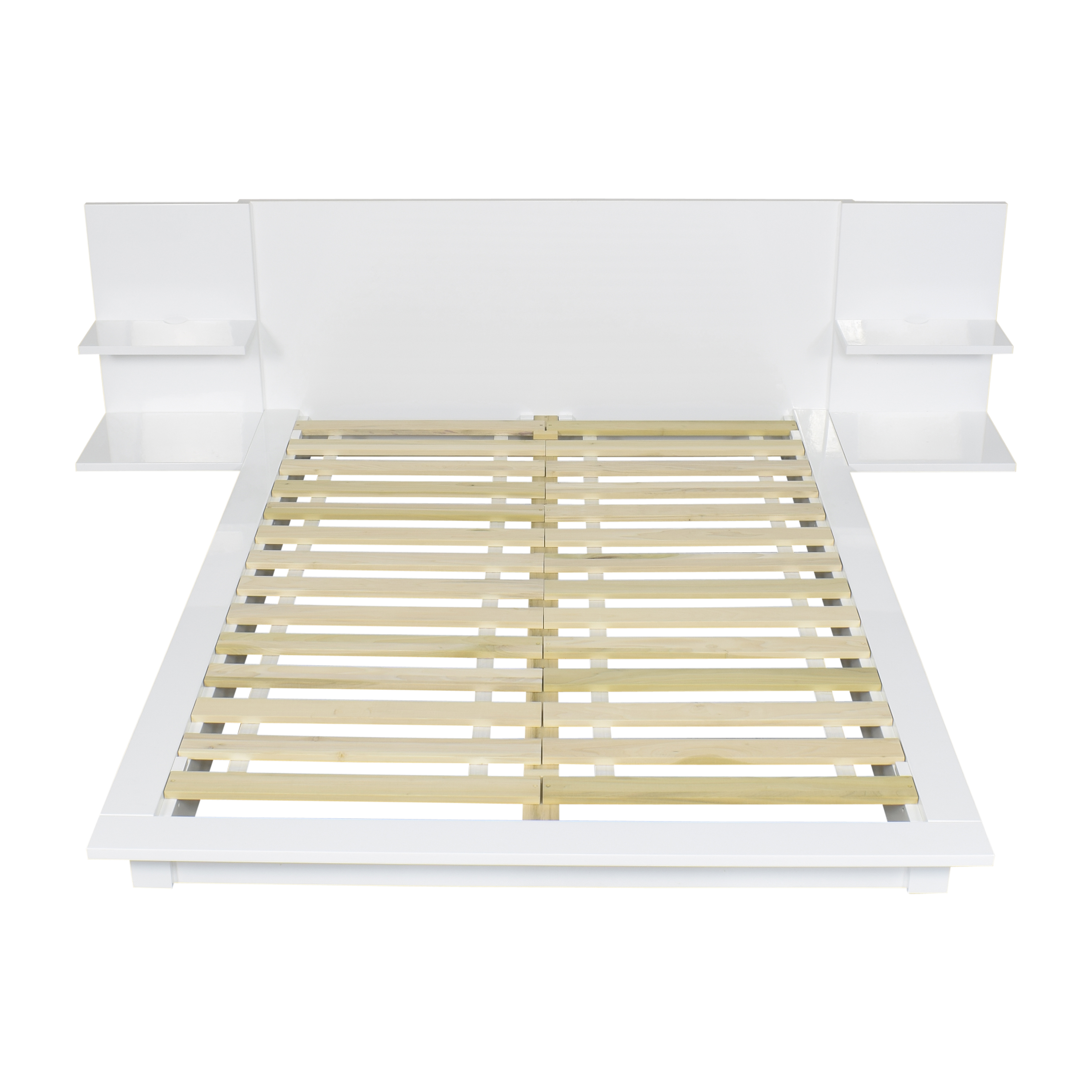 shop CB2 Andes Queen Bed with Attached Nightstands CB2
