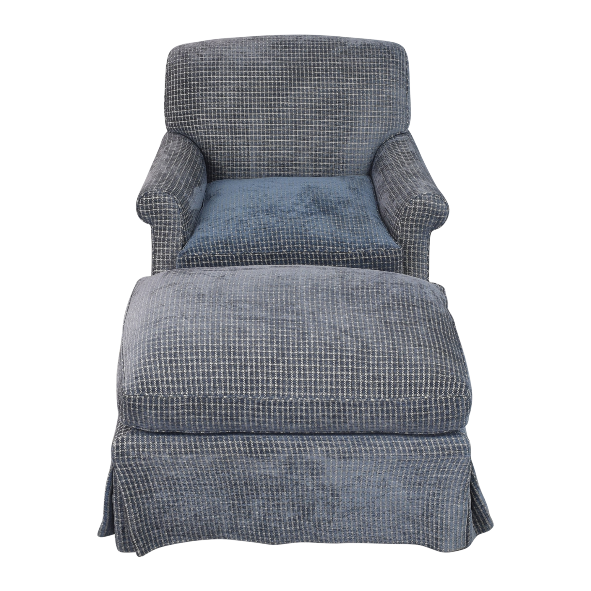 Skirted Accent Chair with Ottoman second hand